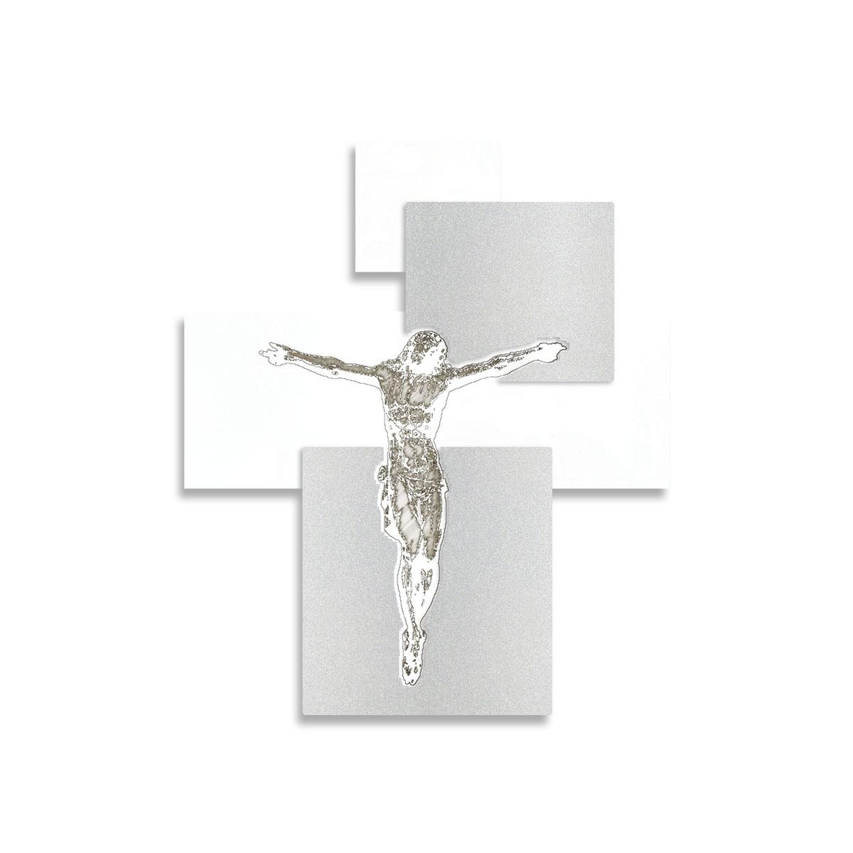 L:A:S - Laser Art Style - CROCIFISSO DA PARETE  MODERNO – CR19 BIANCO-ARGENTO