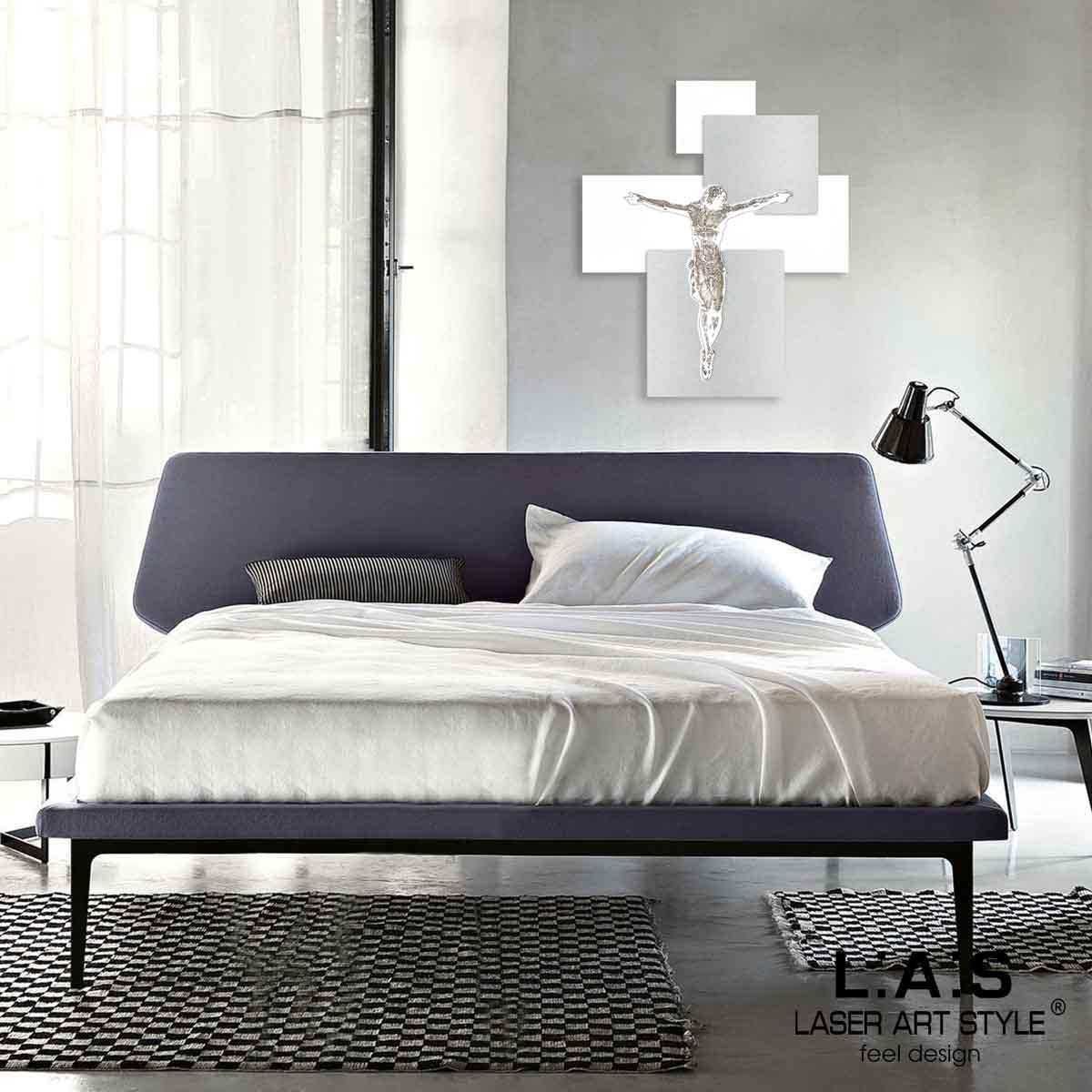 L:A:S - Laser Art Style - CROCIFISSO DA PARETE MODERNO – CR19 BIANCO-GRIGIO MARRONE
