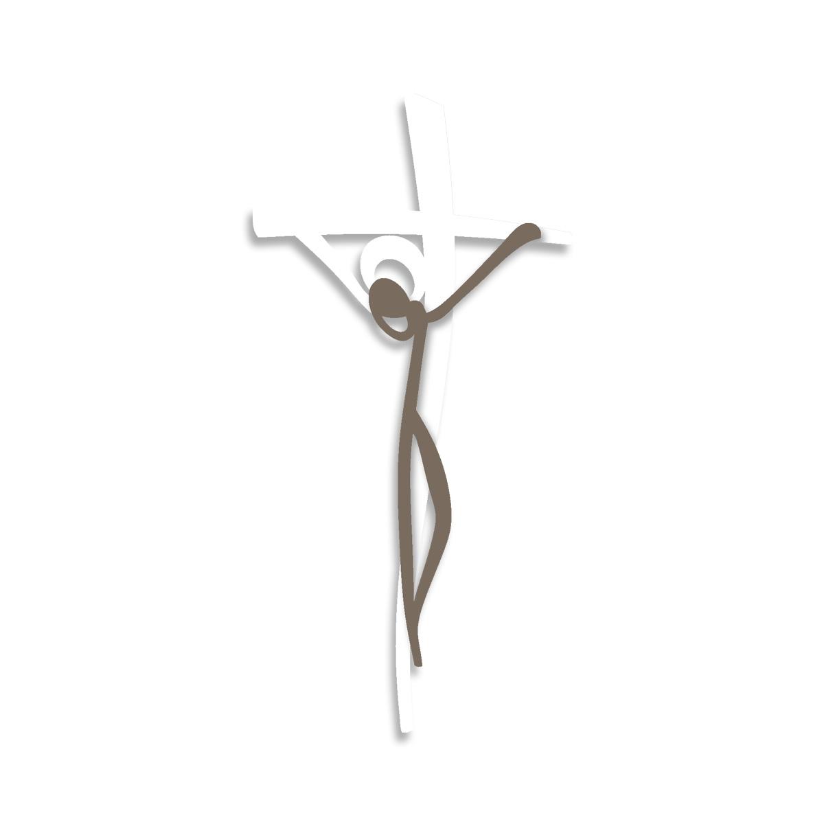 L:A:S - Laser Art Style - CROCIFISSO DA PARETE MINIMAL – CR28 BIANCO – GRIGIO MARRONE