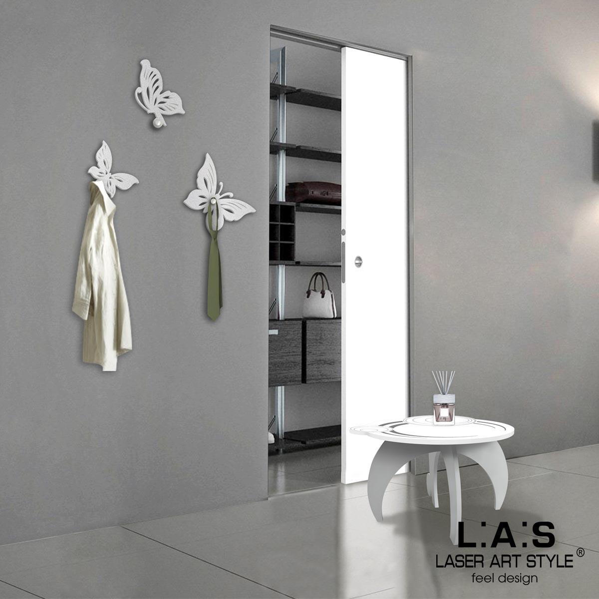 L:A:S - Laser Art Style - APPENDIABITI DA PARETE DESIGN FARFALLA – KIT-200 ARGENTO