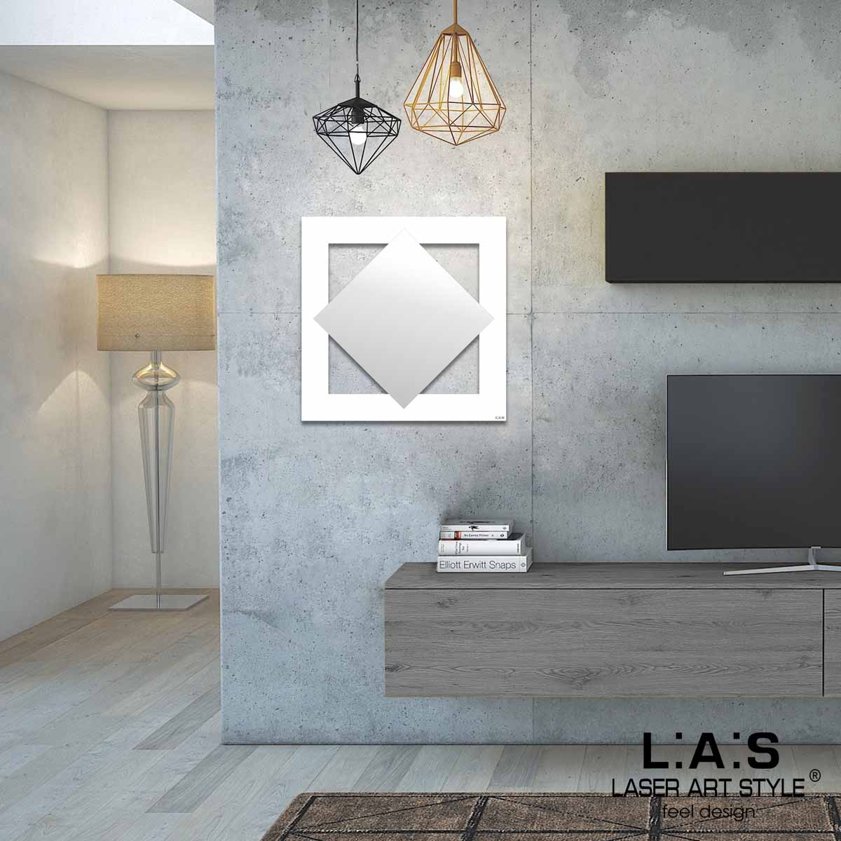 L:A:S - Laser Art Style - SPECCHIO DA PARETE MINIMAL Q-SP BIANCO