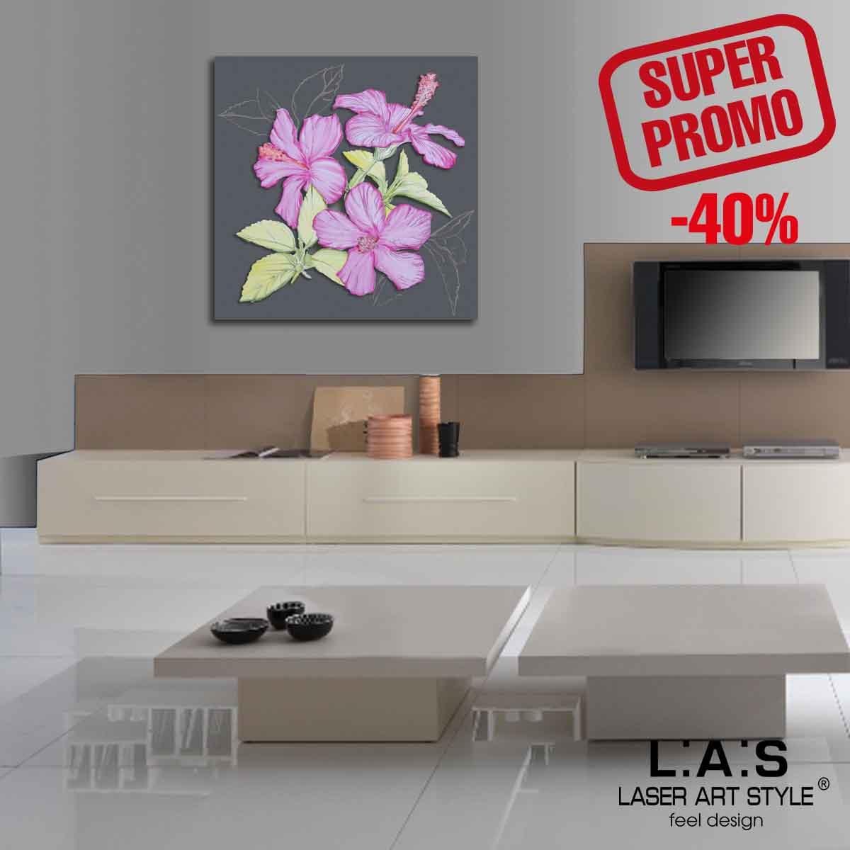 L:A:S - Laser Art Style - QUADRO MODERNO – SCULTURA DA PARETE – SI-102BQ ANTRACITE-DECORO ROSA