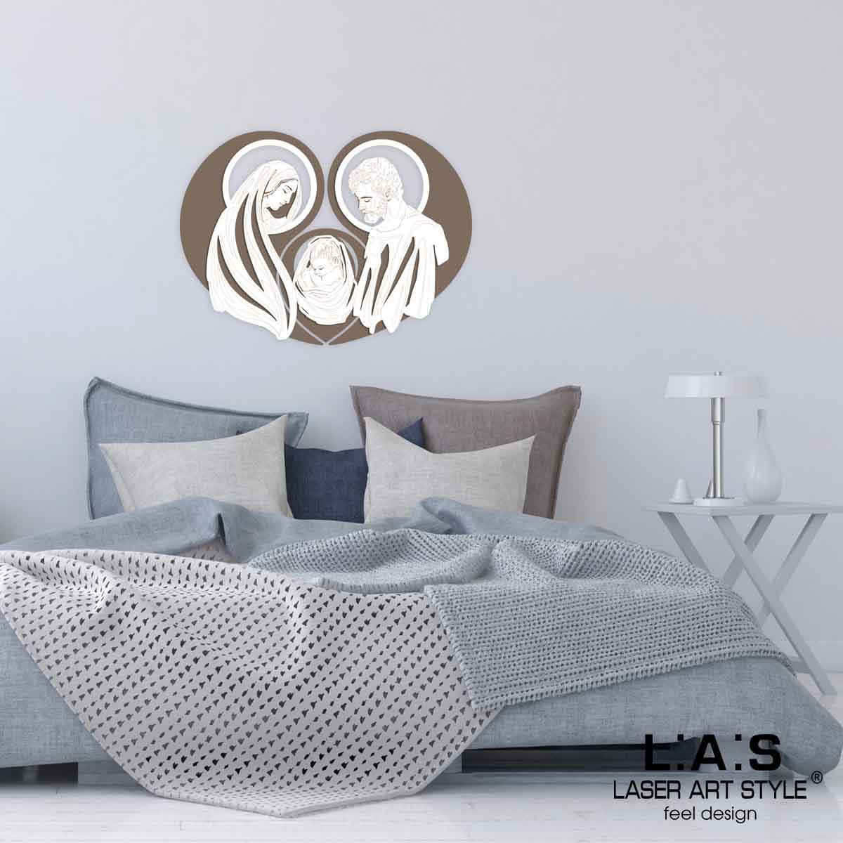 L:A:S - Laser Art Style - CAPEZZALE MODERNO – SACRA FAMIGLIA – SI-266-SF-L GRIGIO MARRONE – BIANCO