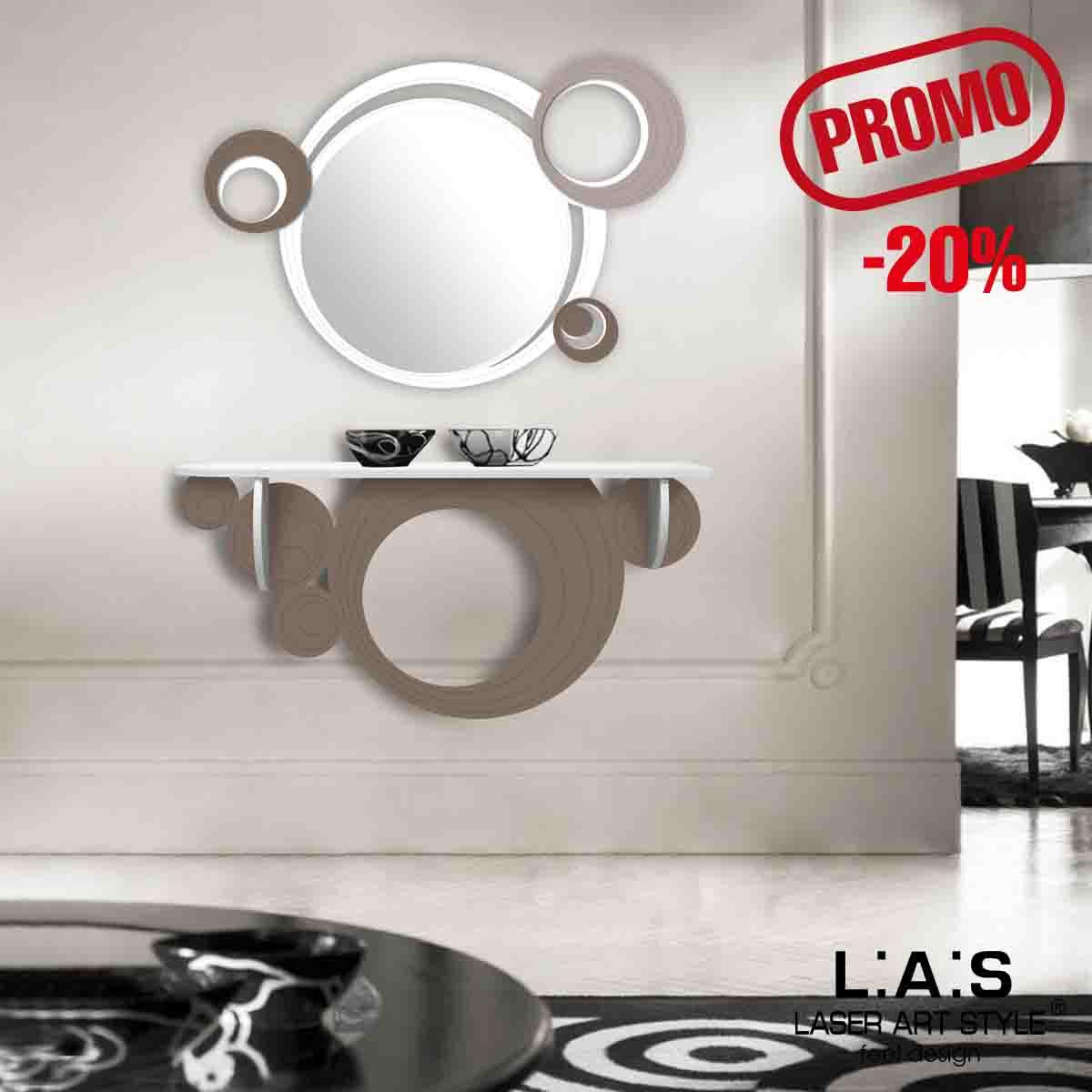 L:A:S - Laser Art Style - SPECCHIERA DESIGN MODERNO SI-296 BIANCO-GRIGIO MARRONE-TORTORA