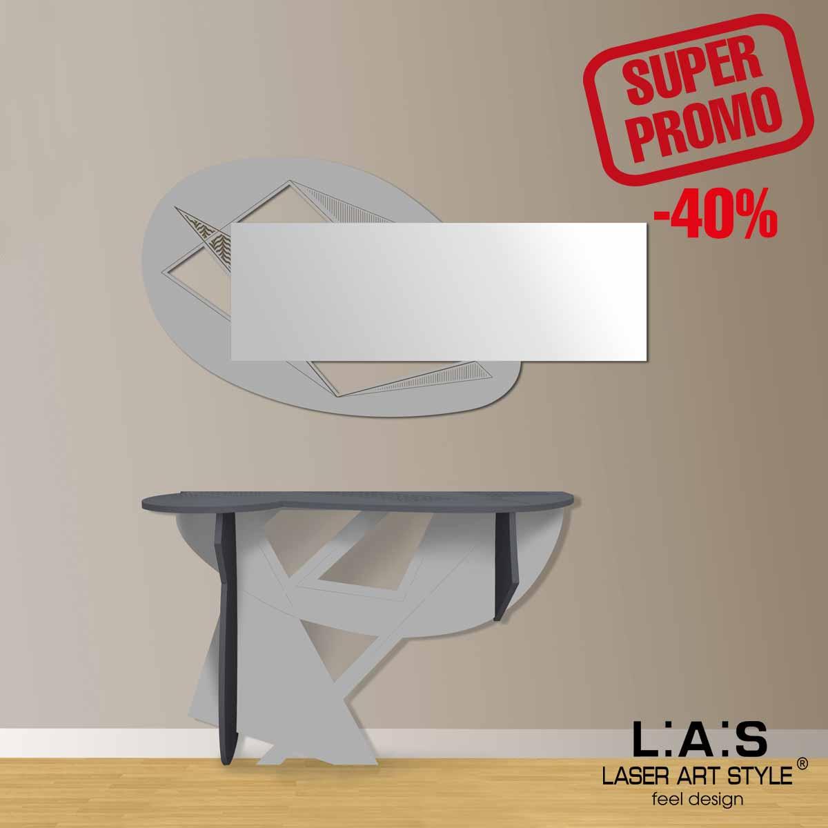 L:A:S - Laser Art Style - CONSOLLE INGRESSO DESIGN SCANDINAVO – SI-382 ANTRACITE-CEMENTO