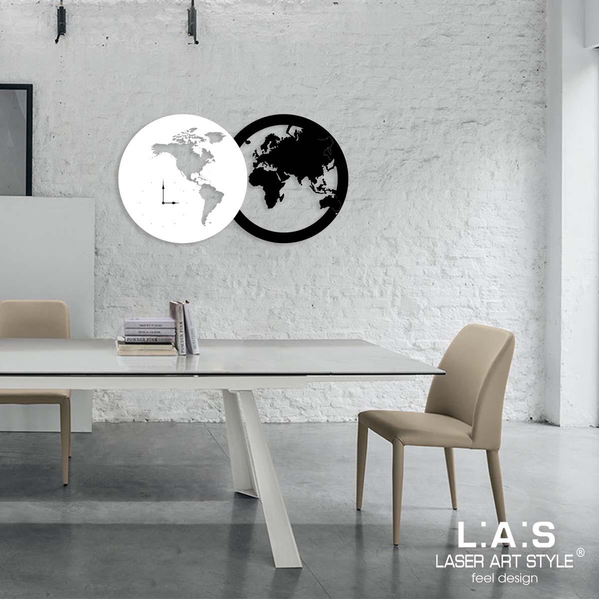 L:A:S - Laser Art Style - OROLOGIO DA PARETE DESIGN PLANISFERO – SI-459 NERO -BIANCO