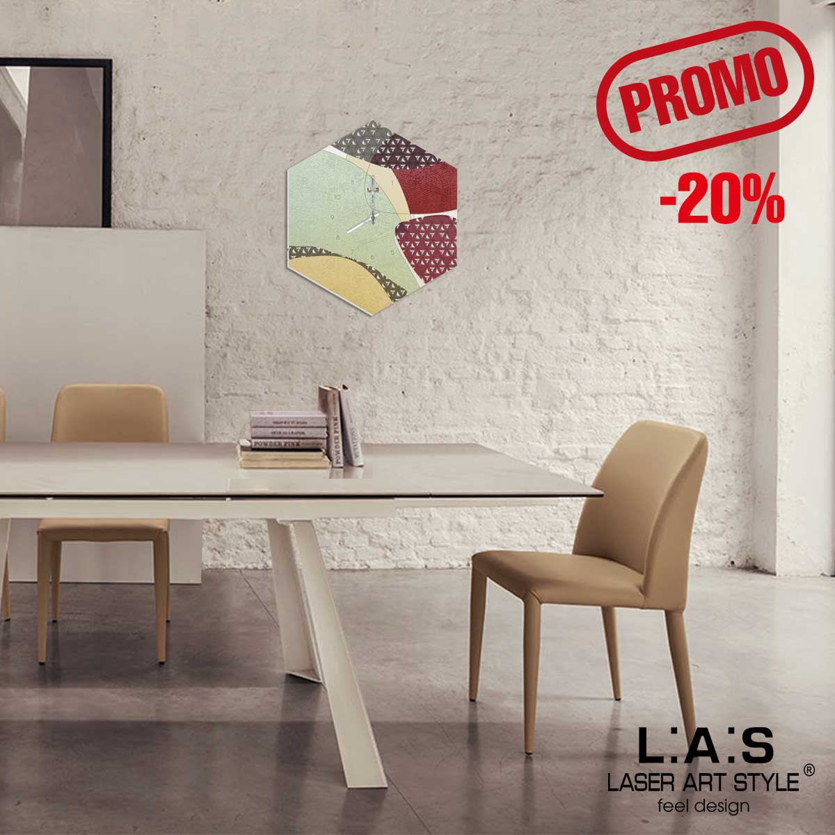 L:A:S - Laser Art Style - OROLOGIO DA PARETE DESIGN GEOMETRICO SI-533 DECORO ROSSO