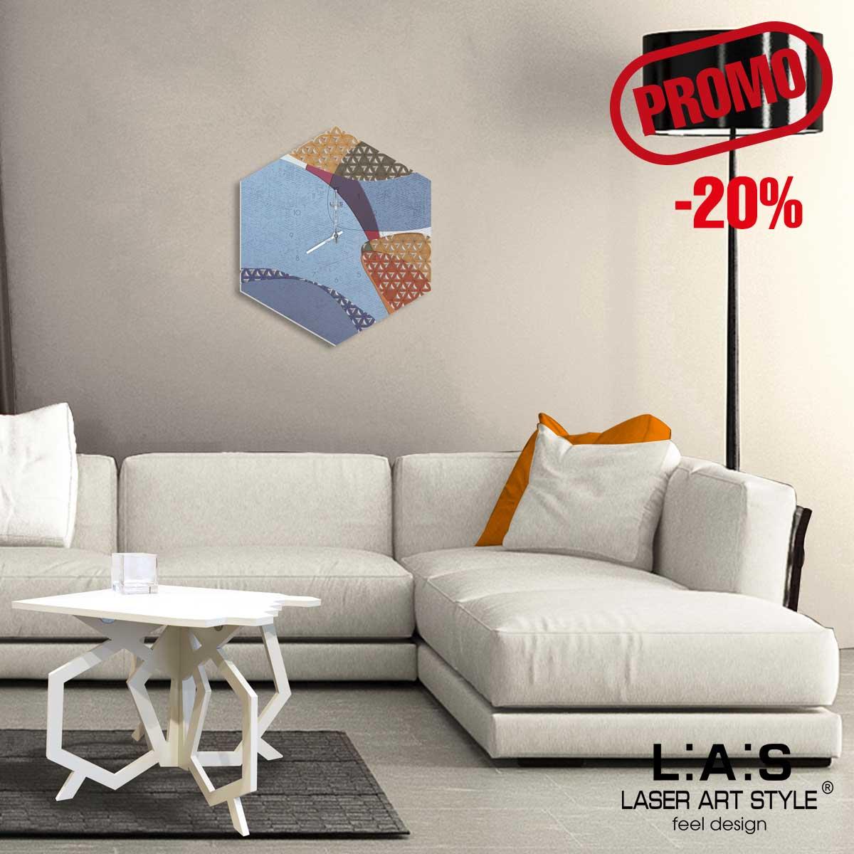 L:A:S - Laser Art Style - OROLOGIO DA PARETE DESIGN GEOMETRICO – SI-533 DECORO TONI CALDI