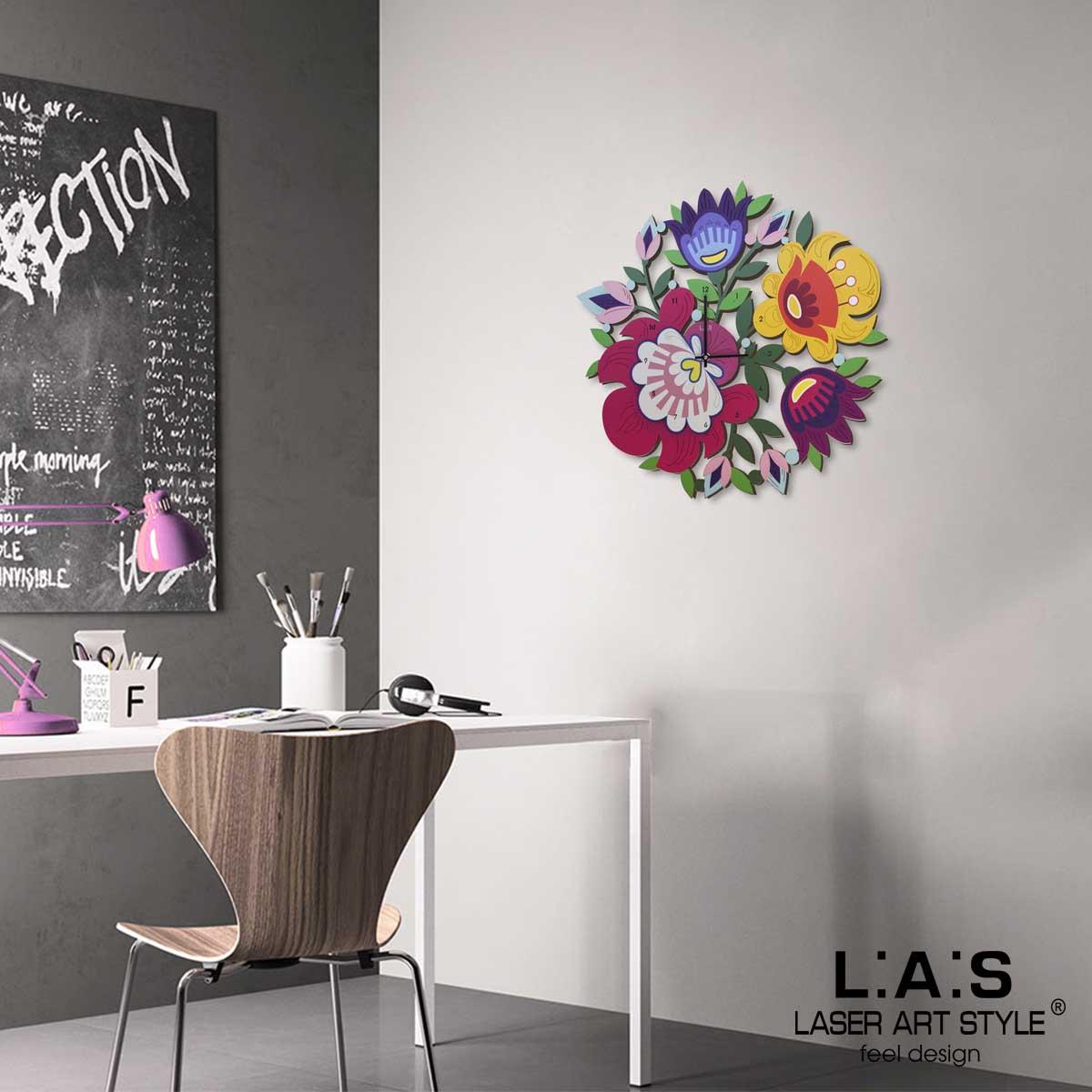 L:A:S - Laser Art Style - OROLOGIO DA PARETE DESIGN FLOREALE – SI-536 DECORO ROSSO