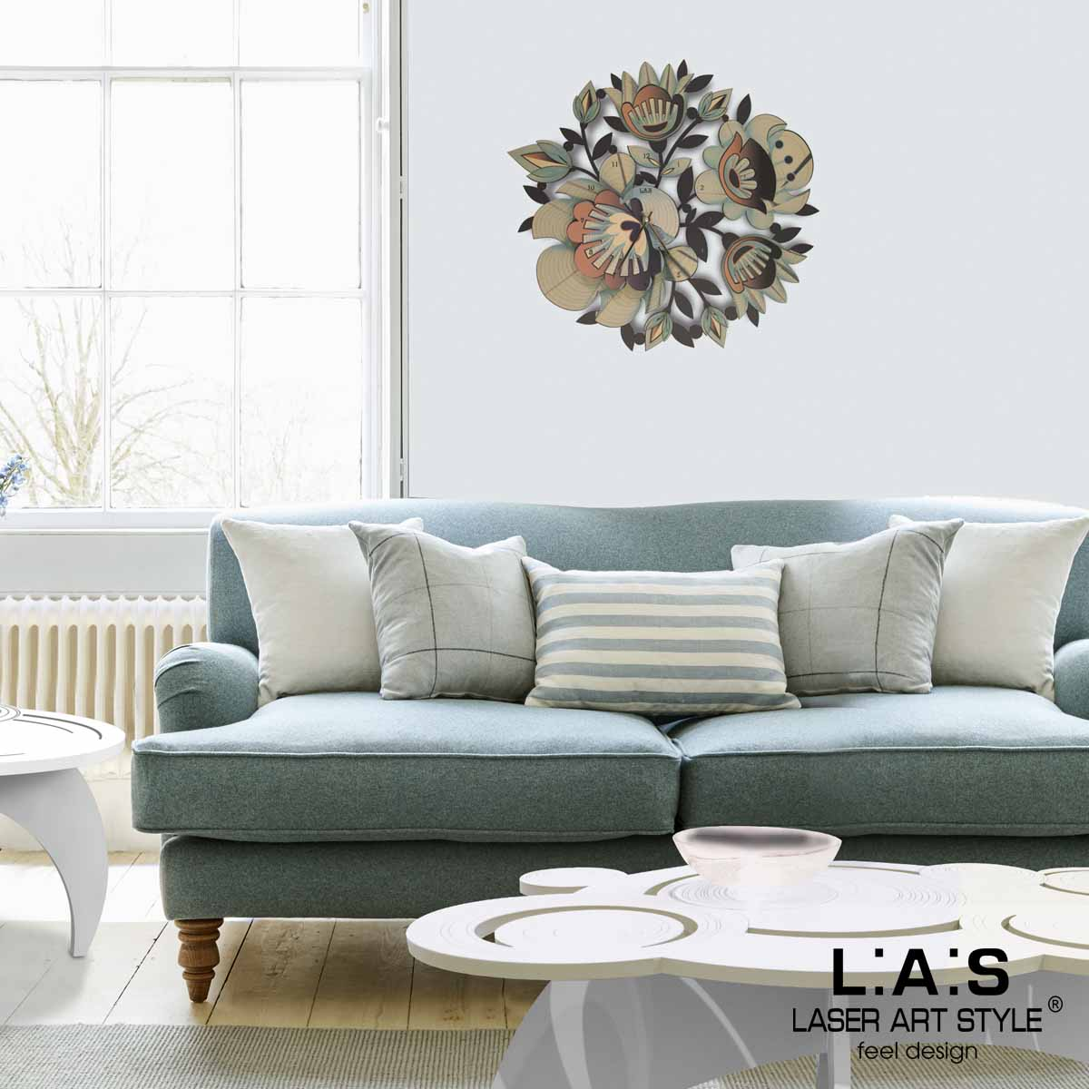 L:A:S - Laser Art Style - OROLOGIO DA PARETE DESIGN FLOREALE SI-537 DECORO VERDE