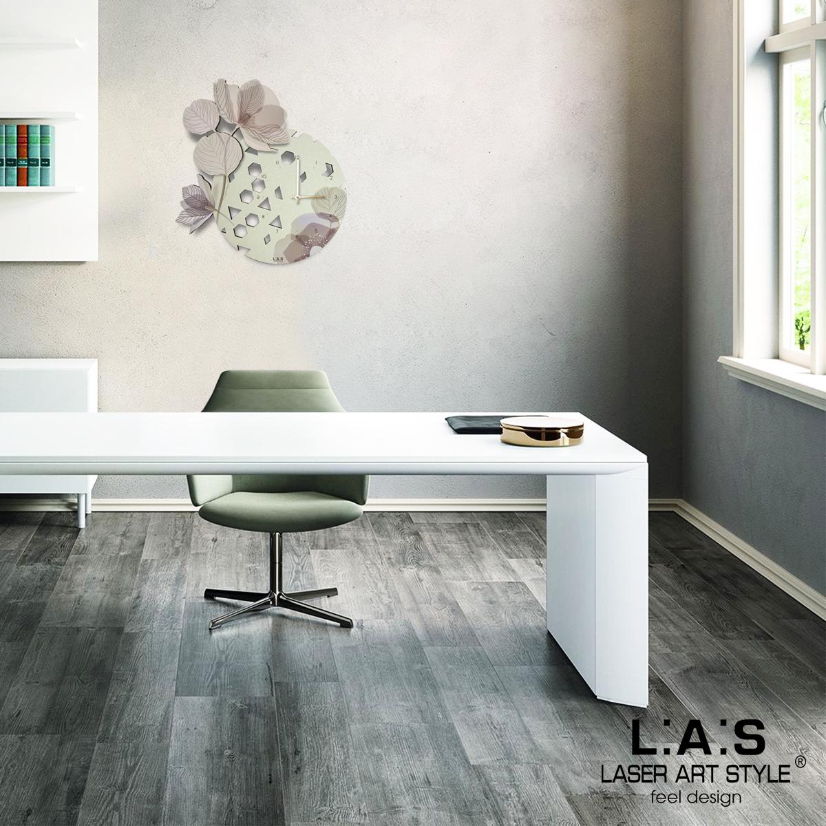 L:A:S - Laser Art Style - OROLOGIO DA PARETE DESIGN FLOREALE – SI-538 BEIGE