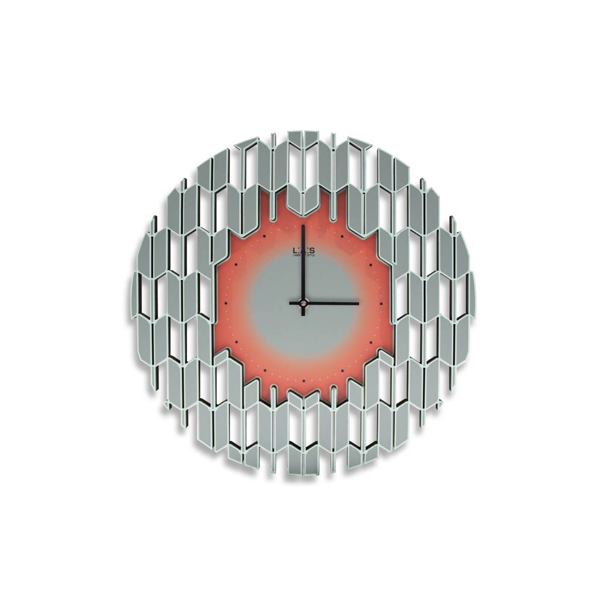L:A:S - Laser Art Style - OROLOGIO DA PARETE DESIGN MODERNO – SI-540 DECORO GRIGIO CELESTE-ARANCIO