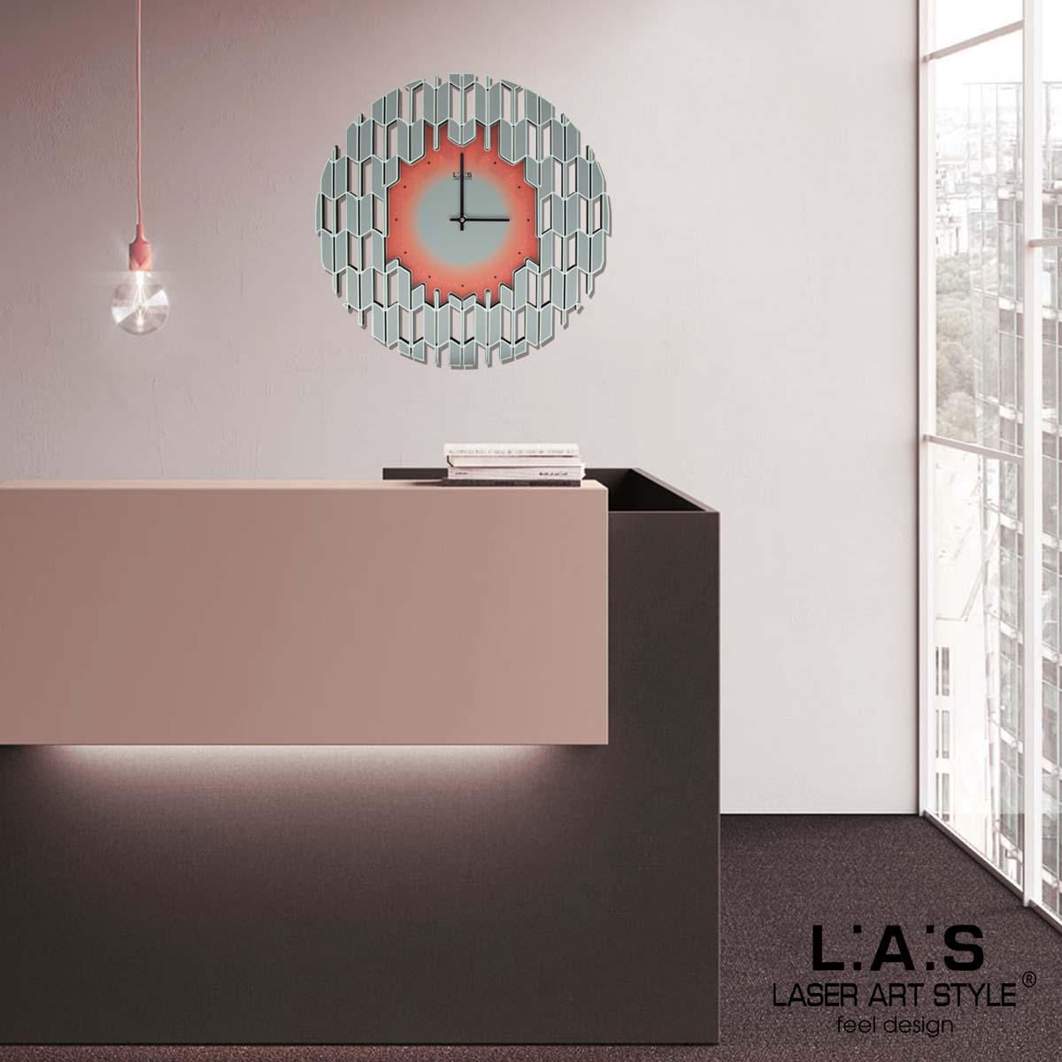 L:A:S - Laser Art Style - OROLOGIO DA PARETE DESIGN SI-540 DECORO ROSA-NERO