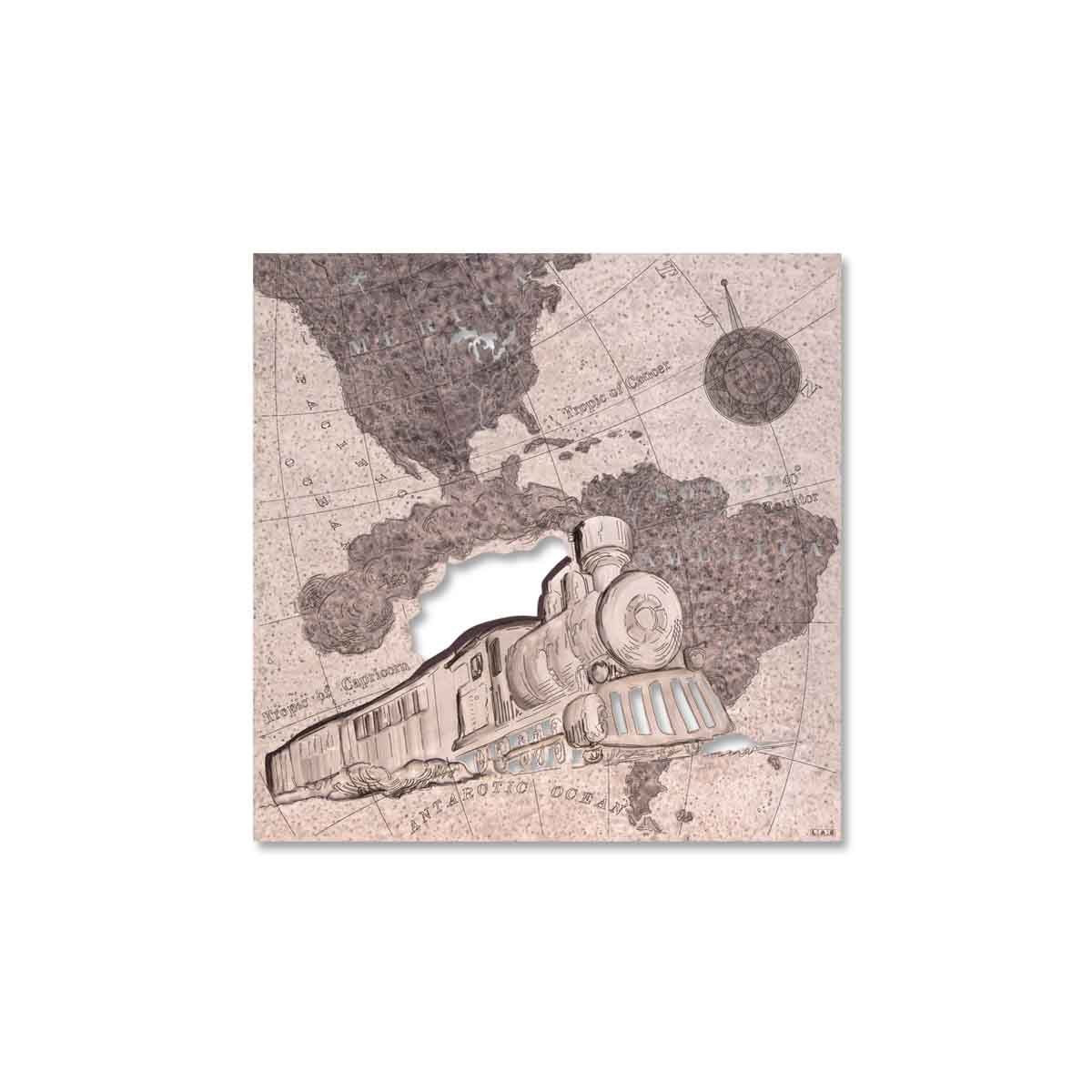 L:A:S - Laser Art Style - QUADRO MODERNO – SCULTURA DA PARETE TRENO – Q-030 DECORO RUGGINE