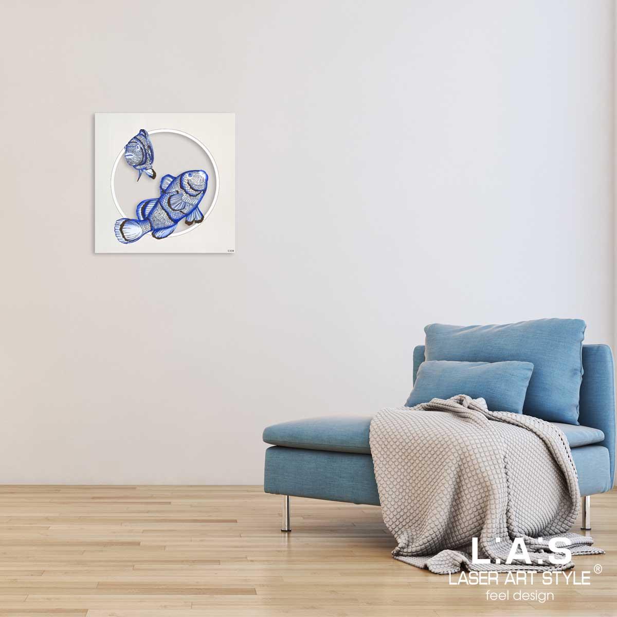 L:A:S - Laser Art Style - QUADRO MODERNO – SCULTURA DA PARETE TEMA MARE – Q-032 DECORO BLUETTE