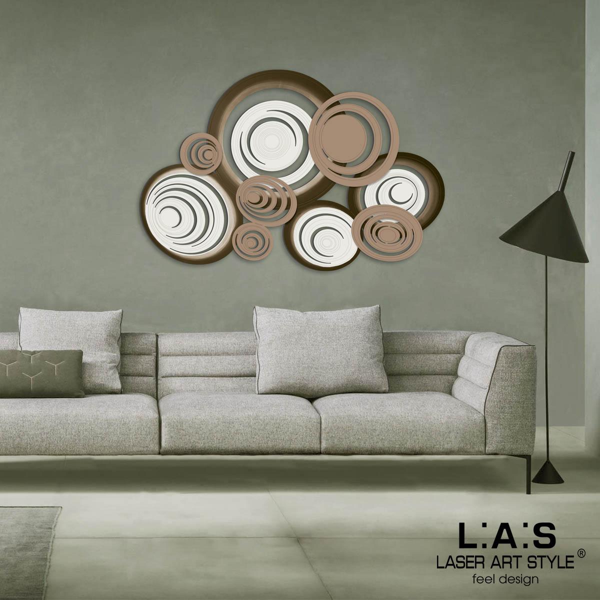 L:A:S - Laser Art Style - QUADRO MODERNO – SCULTURA DA PARETE – SI-183 PANNA-NOCCIOLA-NOCCIOLA-DECORO MARRONE