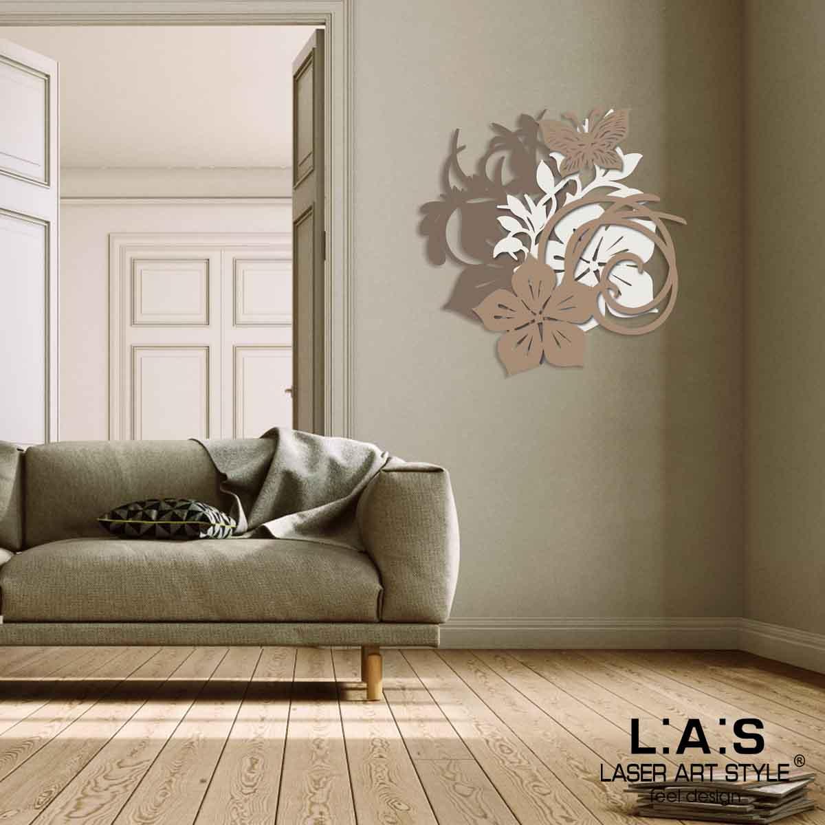 L:A:S - Laser Art Style - QUADRO MODERNO DESIGN FARFALLA – SI-200L GRIGIO MARRONE-PANNA-NOCCIOLA