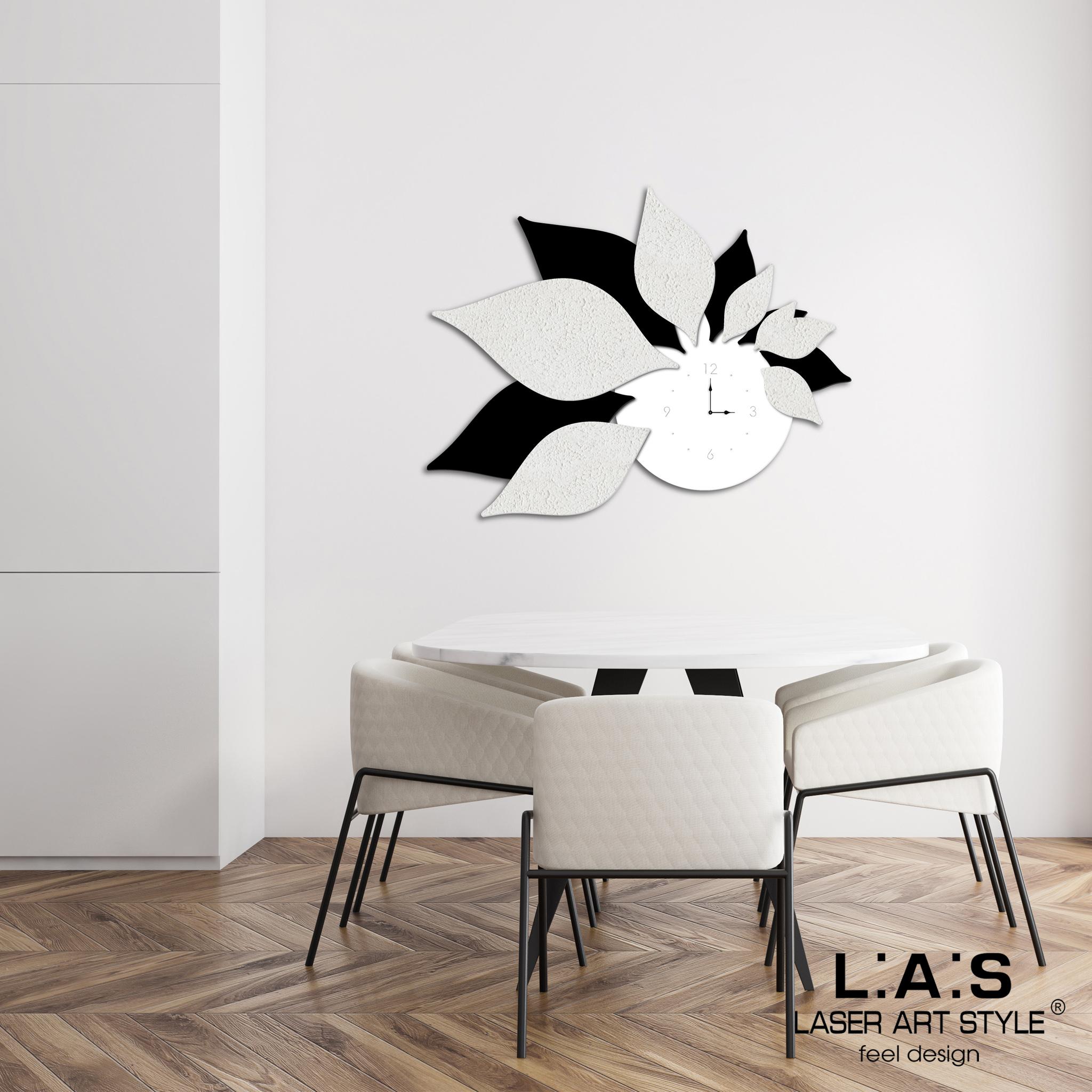 L:A:S - Laser Art Style - OROLOGIO DA PARETE DESIGN 3D SI-210 BIANCO-NERO-DECORO STUCCO NERO