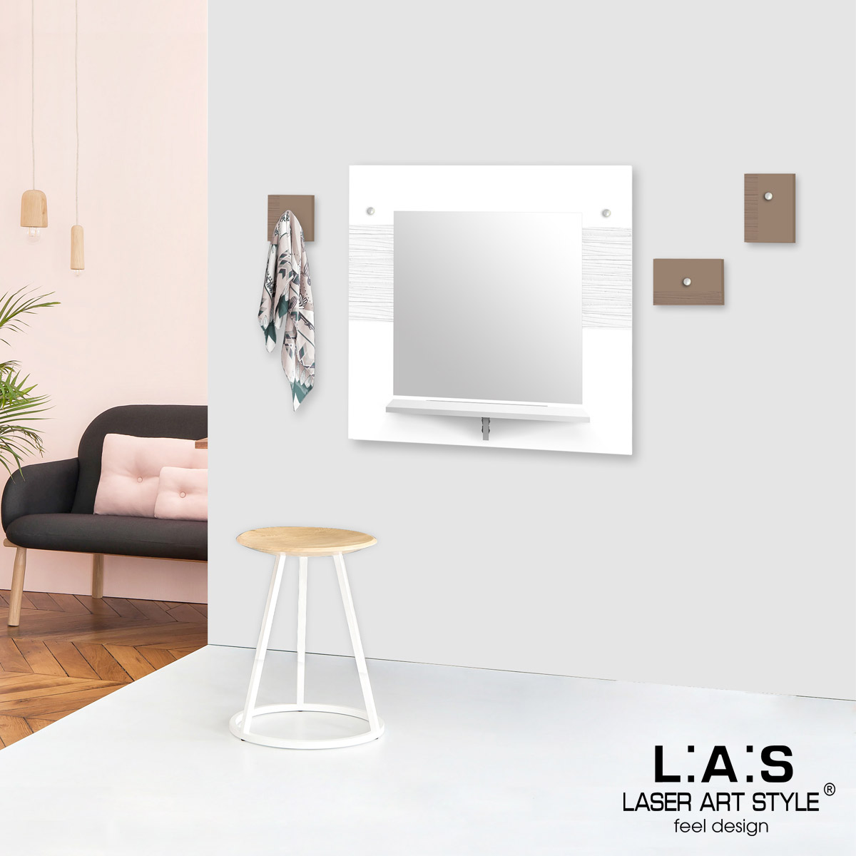 L:A:S - Laser Art Style - SPECCHIERA DESIGN MINIMAL – SI-471-M3 BIANCO-NOCCIOLA