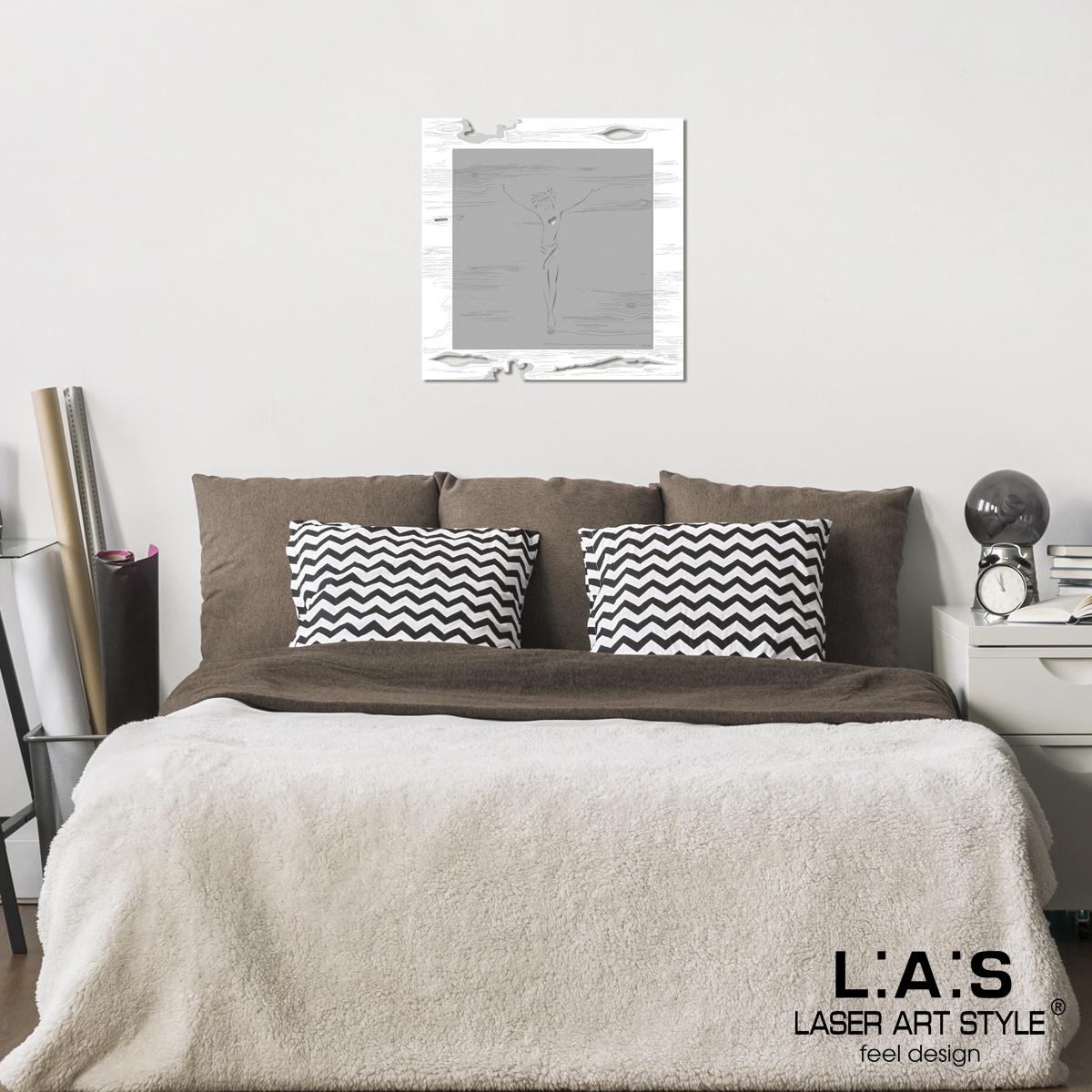 L:A:S - Laser Art Style - CROCIFISSO DA PARETE MODERNO – SI-478L-T8 BIANCO-CEMENTO