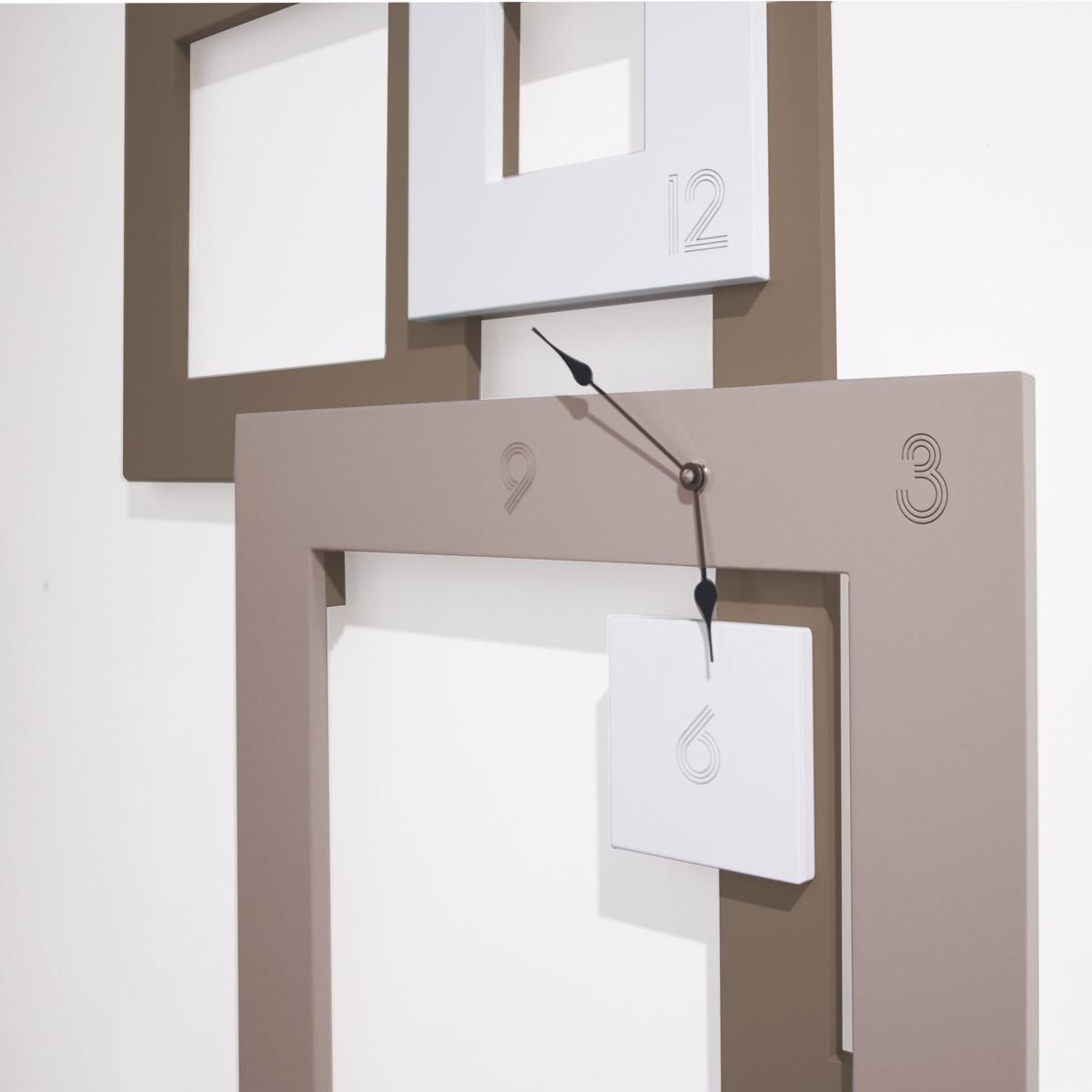 L:A:S - Laser Art Style - OROLOGIO DA PARETE GRANDE DESIGN MINIMAL – SI-504 GRIGIO MARRONE-PANNA-CIPRIA