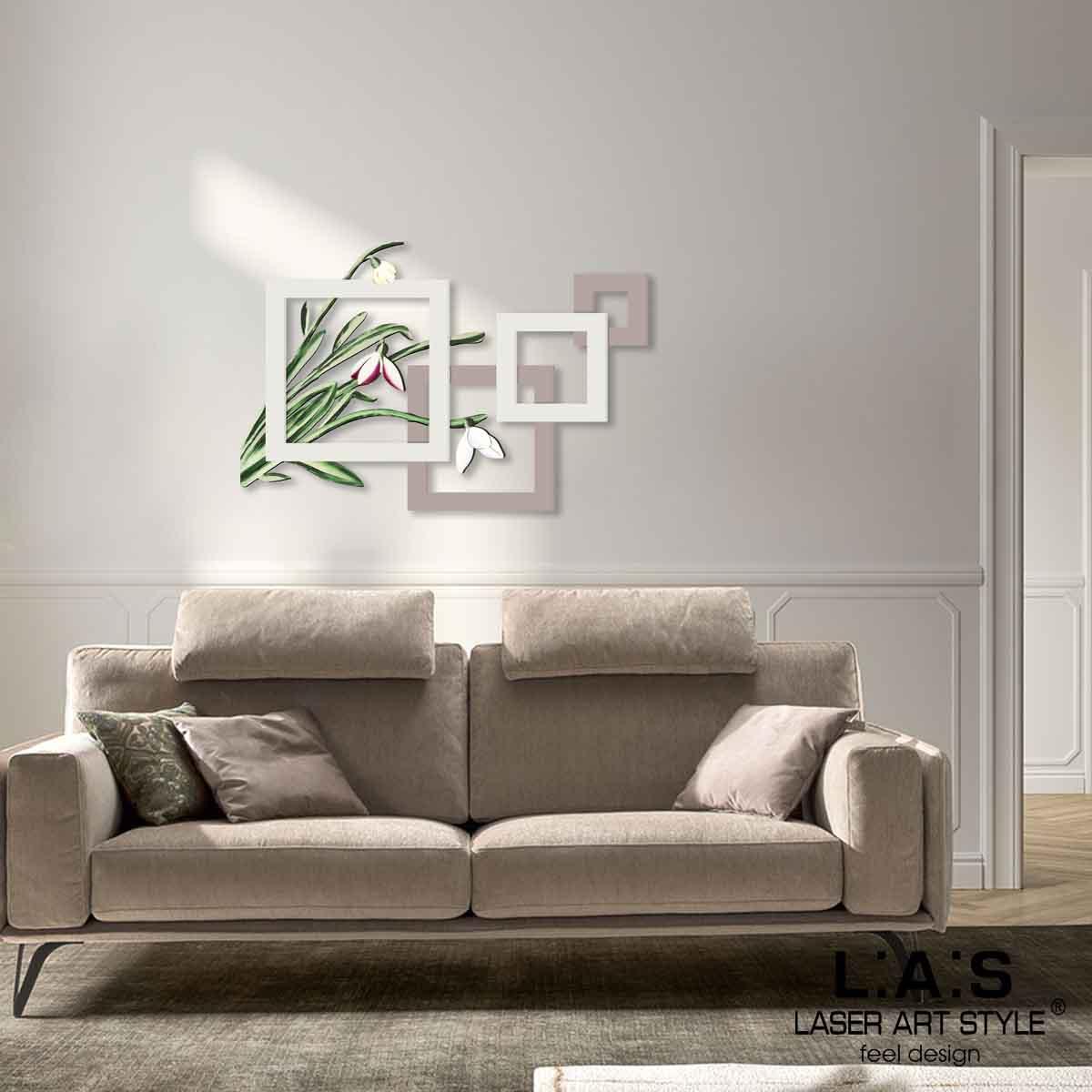 L:A:S - Laser Art Style - QUADRO FLOREALE – SCULTURA DA PARETE – SI-505XL TORTORA-PANNA-DECORO VERDONE