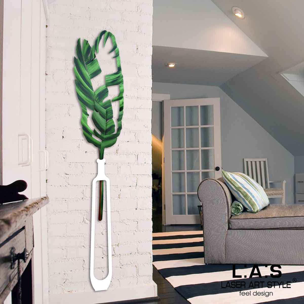 L:A:S - Laser Art Style - VASO DA PARETE DESIGN FLOREALE – SI-509 BIANCO-DECORO VERDONE