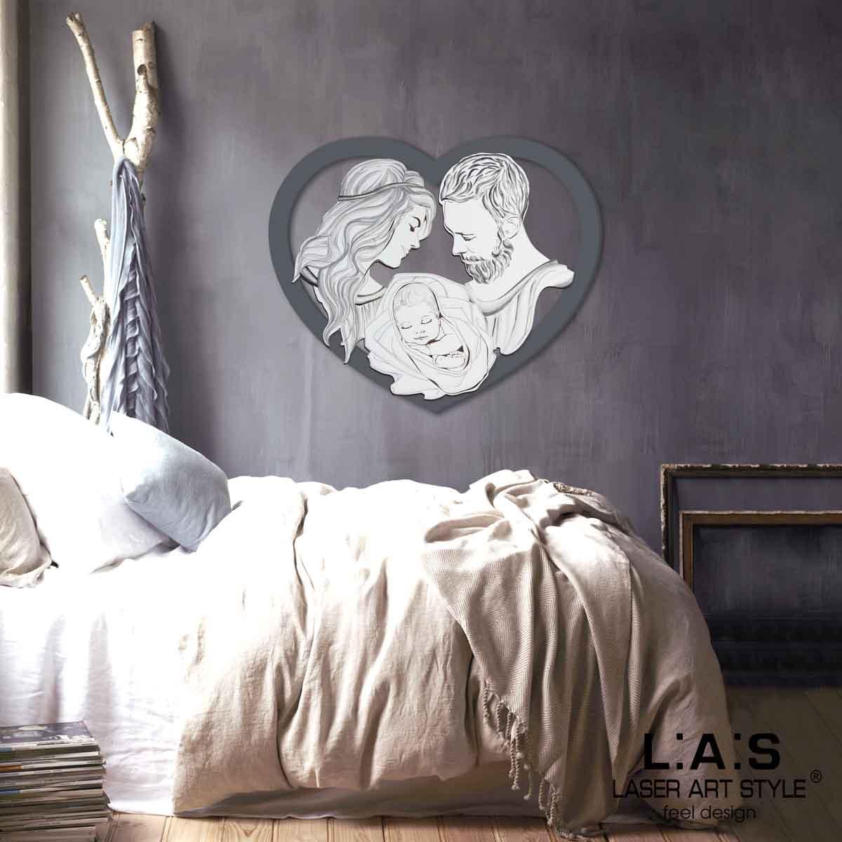 L:A:S - Laser Art Style - CAPEZZALE MODERNO – DESIGN SACRA FAMIGLIA – SI-530 ANTRACITE-DECORO TONI FREDDI