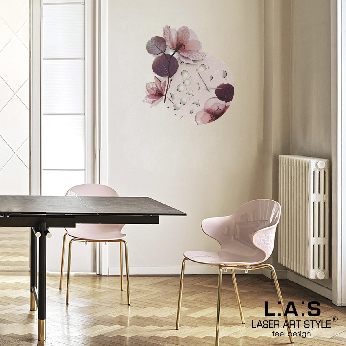 L:A:S - Laser Art Style - OROLOGIO DA PARETE DESIGN FLOREALE – SI-538 ROSA
