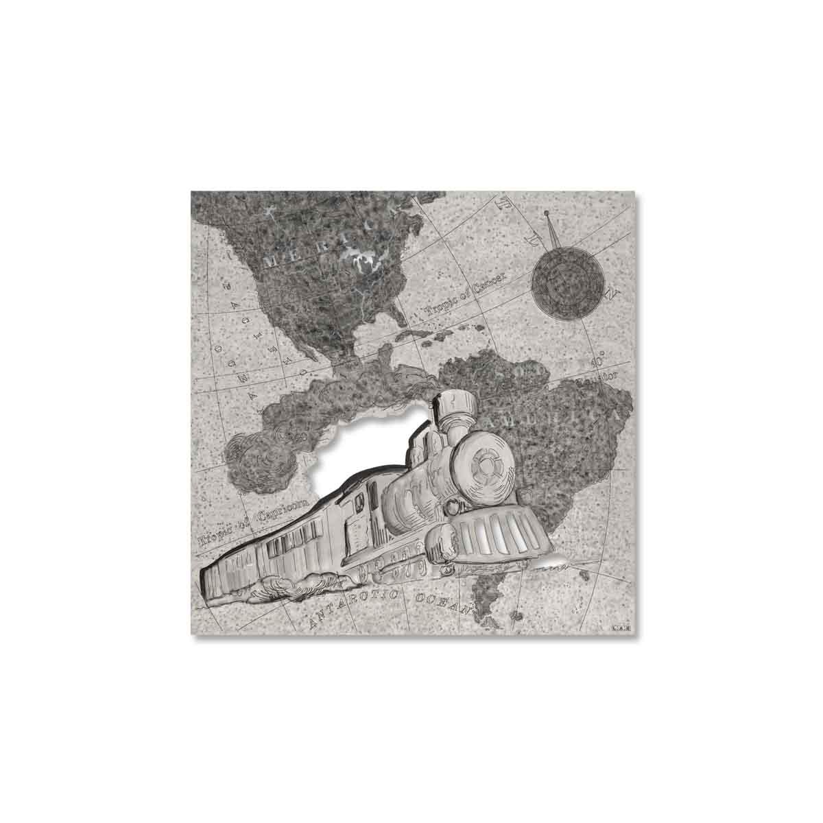 L:A:S - Laser Art Style - QUADRO -SCULTURA DA PARETE TRENO – Q-030 DECORO NERO