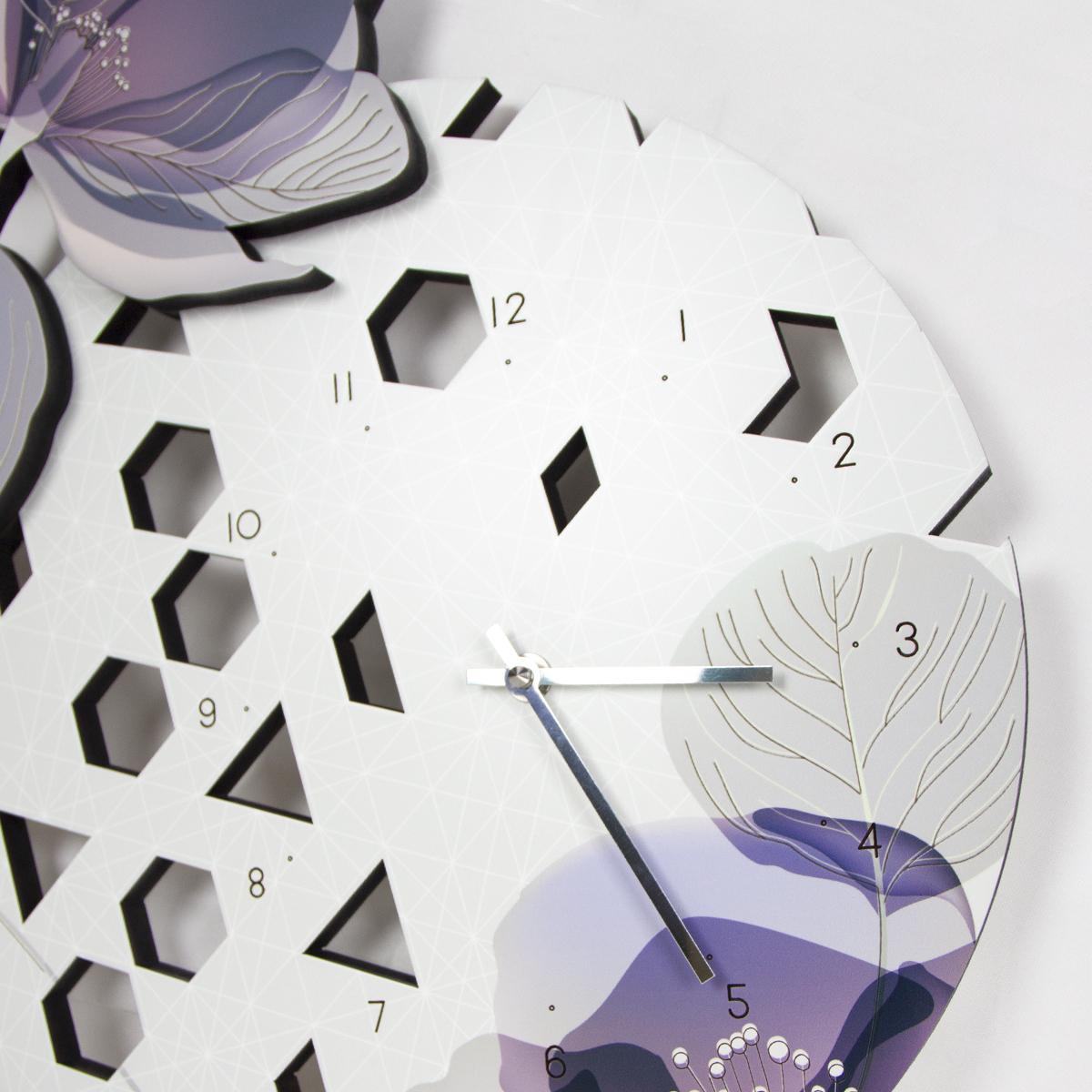 L:A:S - Laser Art Style - OROLOGIO DA PARETE DESIGN FLOREALE SI-538 GRIGIO