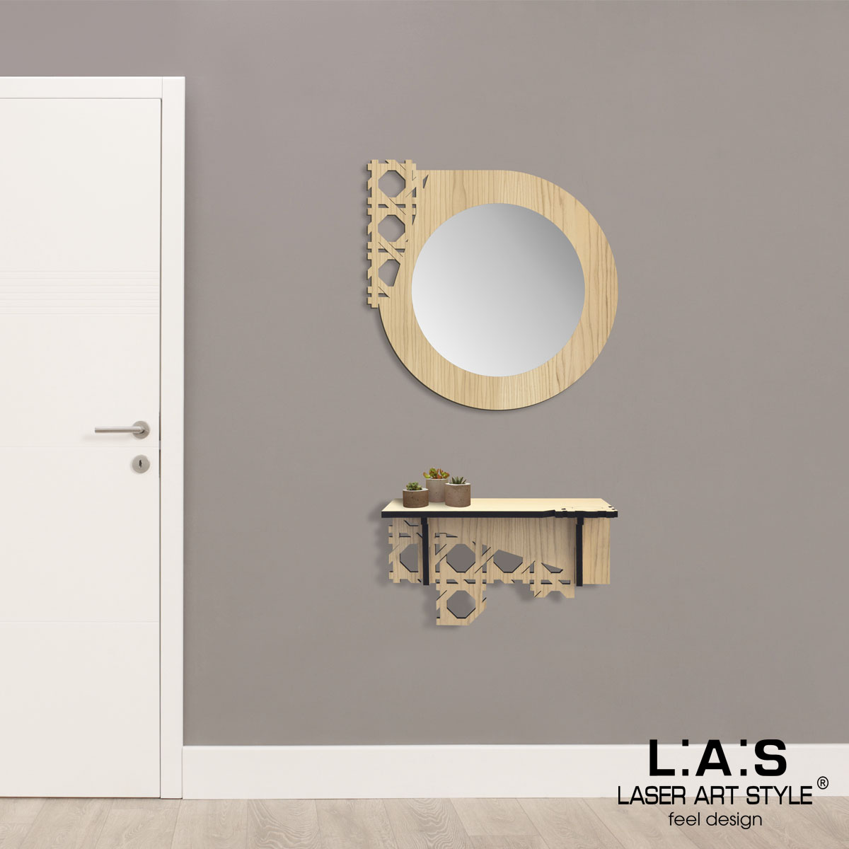 L:A:S - Laser Art Style - CONSOLLE INGRESSO DESIGN W-405 NATURAL WOOD
