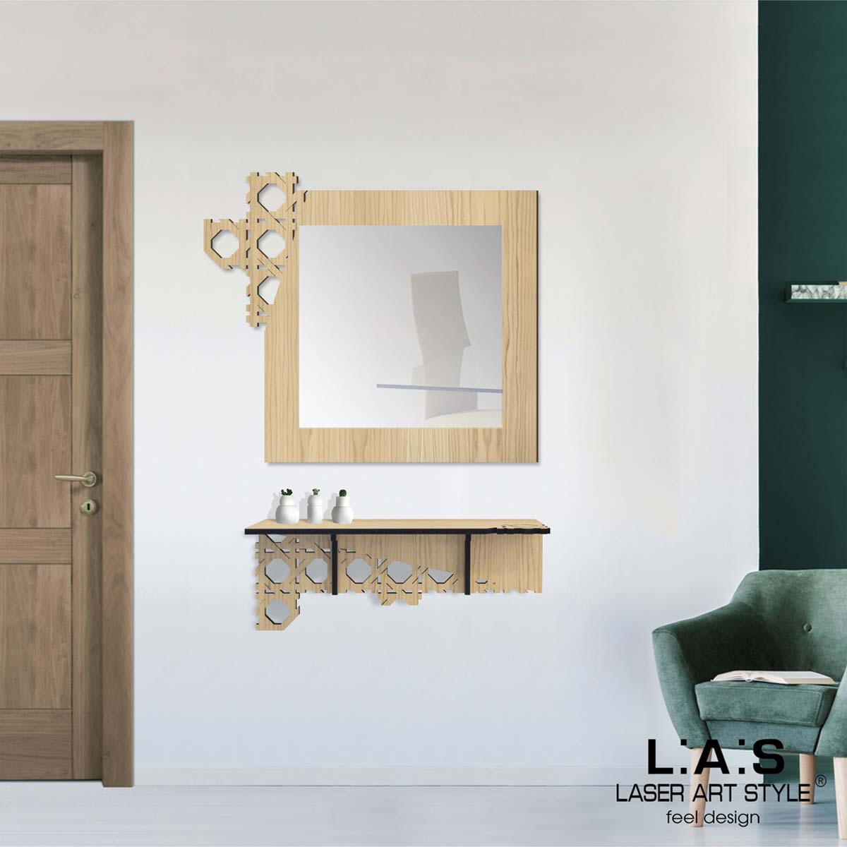 L:A:S - Laser Art Style - SPECCHIERA DESIGN W-409 NATURAL WOOD