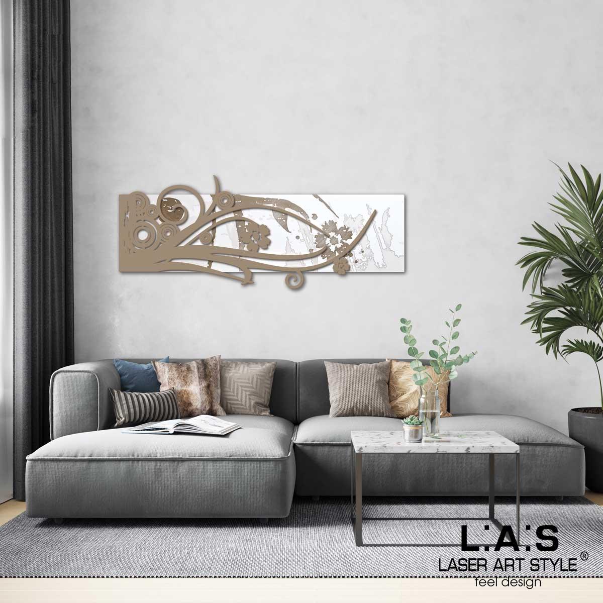 L:A:S - Laser Art Style - QUADRO – SCULTURA DA PARETE SI-106 BIANCO-NOCCIOLA-INC.LEGNO