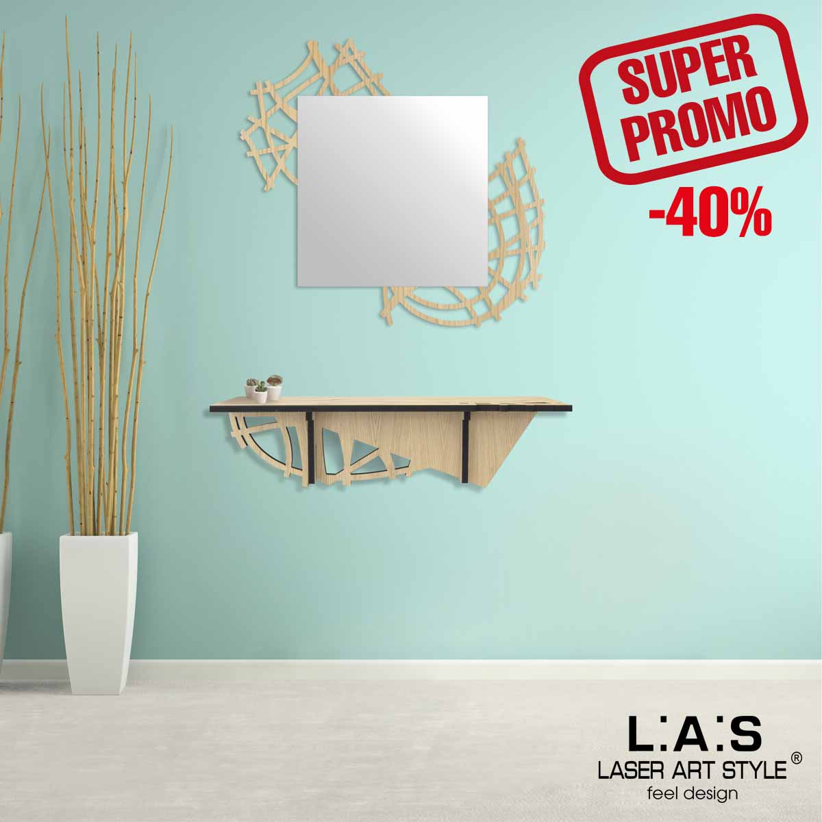 L:A:S - Laser Art Style - CONSOLLE INGRESSO MODERNO – W-395 NATURAL WOOD
