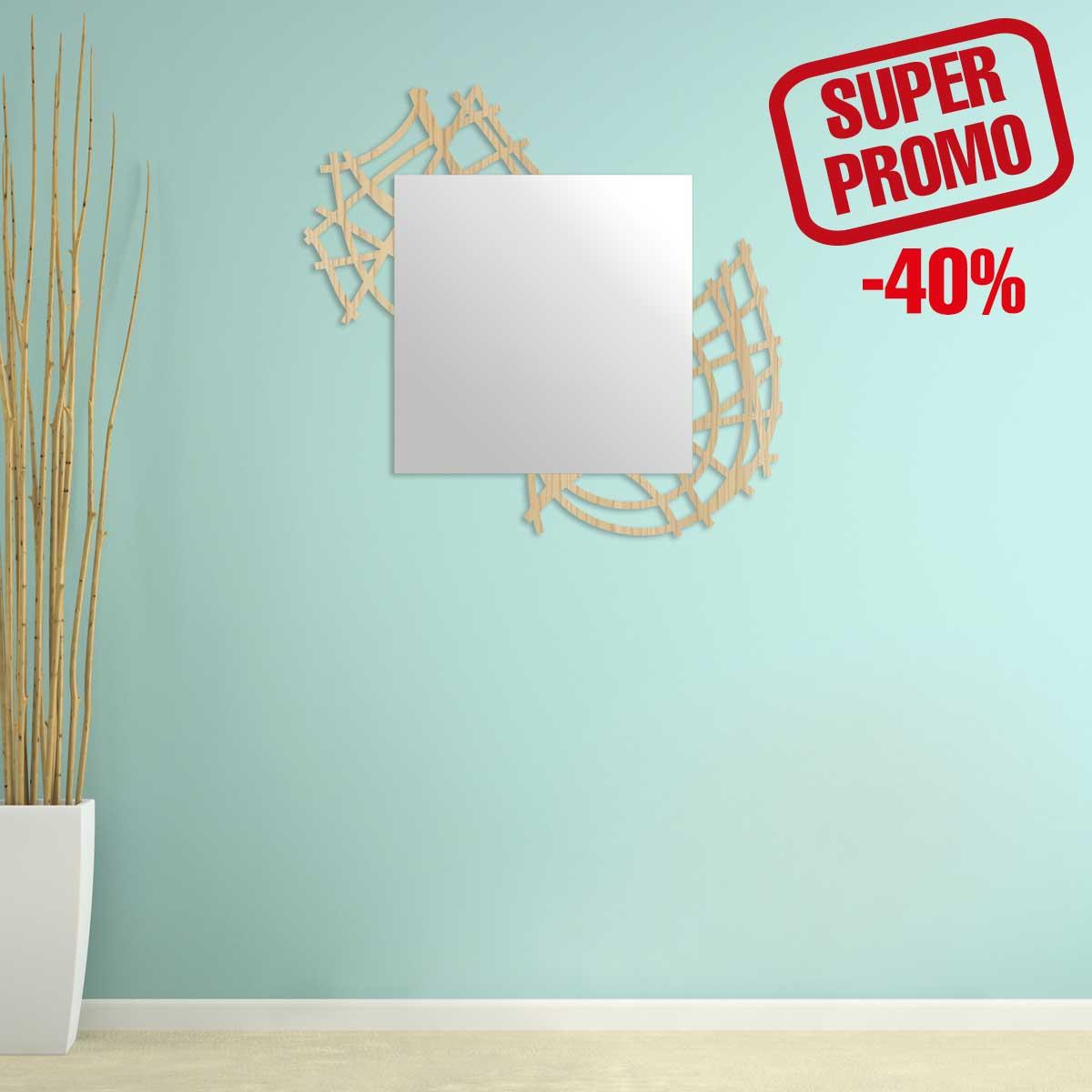 L:A:S - Laser Art Style - SPECCHIO DA PARETE LEGNO DESIGN MODERNO – W-398 NATURAL WOOD