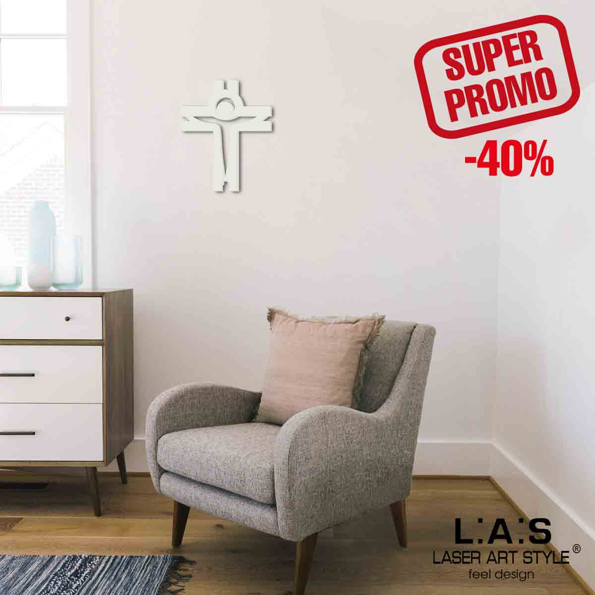 L:A:S - Laser Art Style - CROCIFISSO DA PARETE MODERNO – CR25 PANNA
