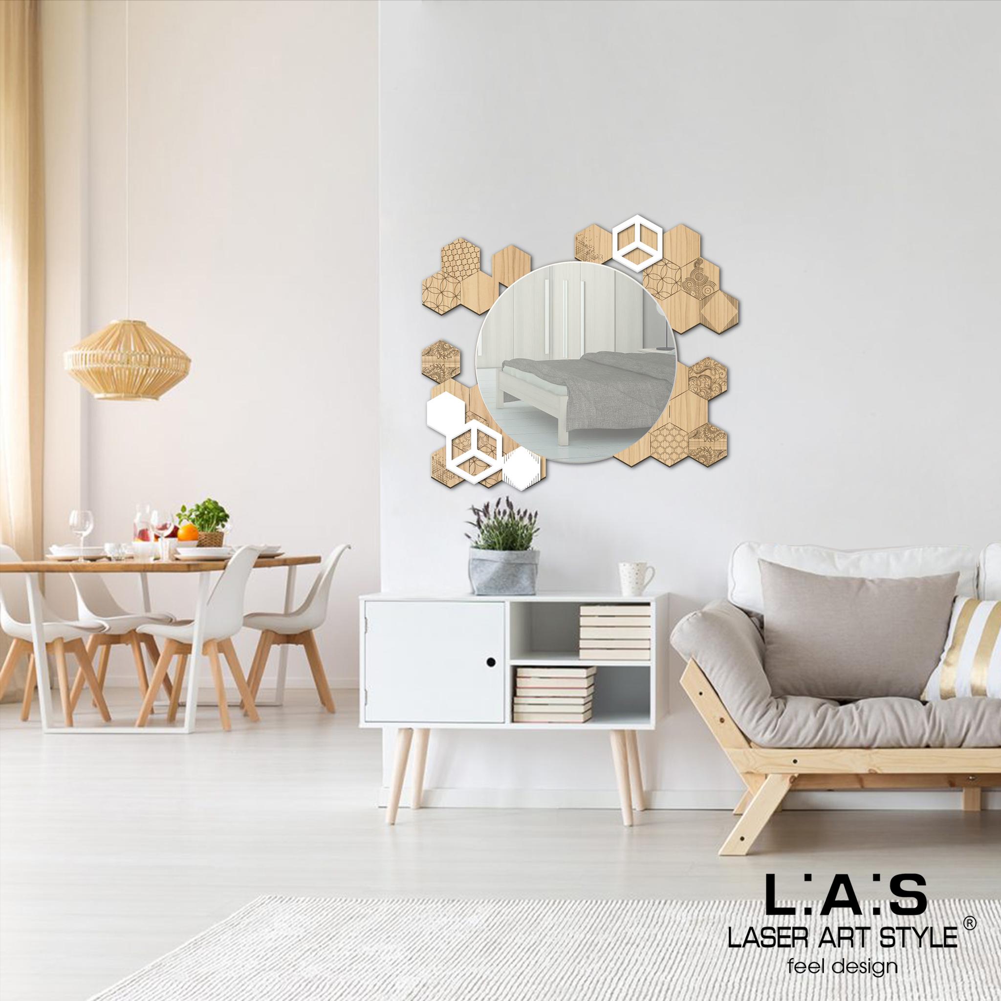 L:A:S - Laser Art Style - SPECCHIERA DESIGN ESAGONI  MW-311 NATURAL WOOD – PANNA