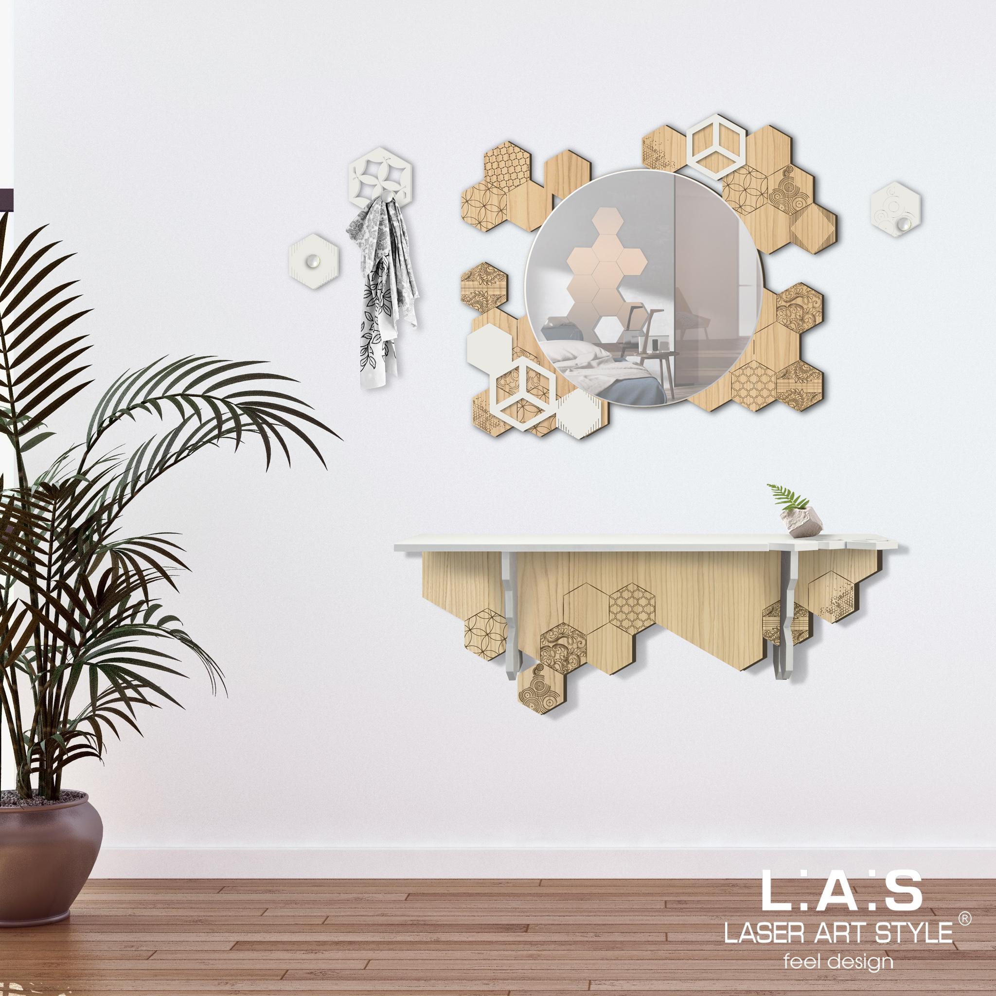 L:A:S - Laser Art Style - CONSOLLE INGRESSO DESIGN ESEGONI – MW-313 PANNA – NATURAL WOOD