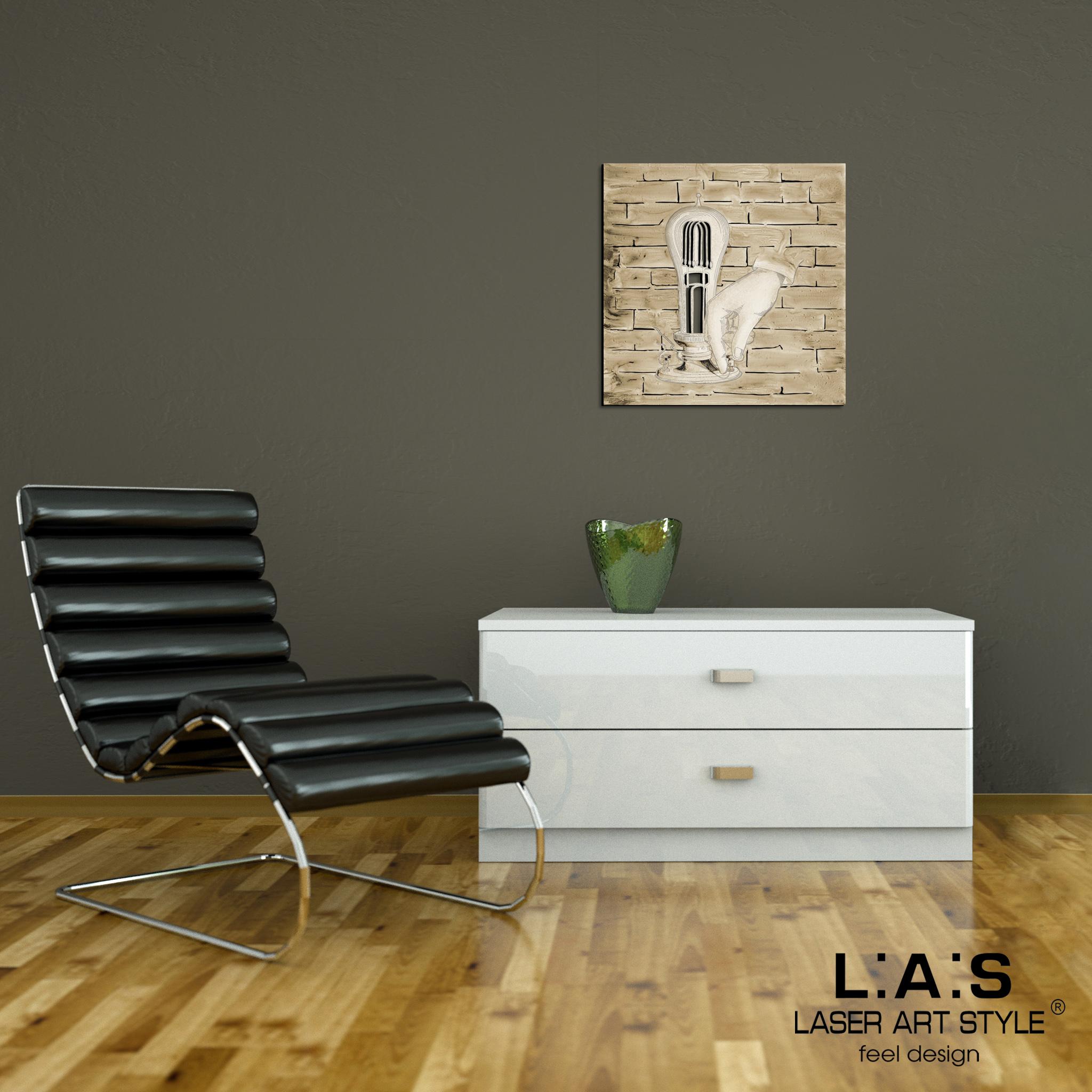 L:A:S - Laser Art Style - QUADRO MODERNO -SCULTURA DA PARETE INDUSTRIAL – Q-026 DECORO MARRONE