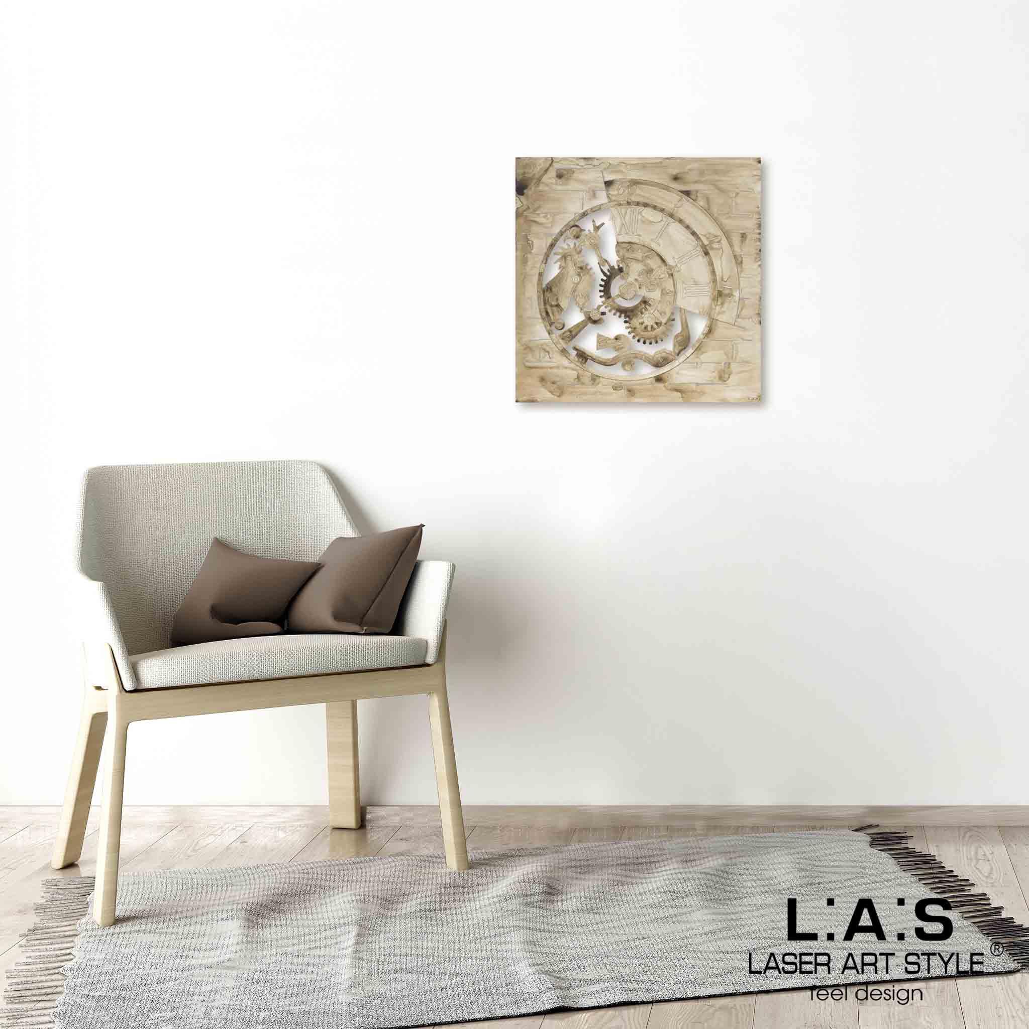 L:A:S - Laser Art Style - QUADRO MODERNO -SCULTURA DA PARETE INDUSTRIAL – Q-027 DECORO MARRONE