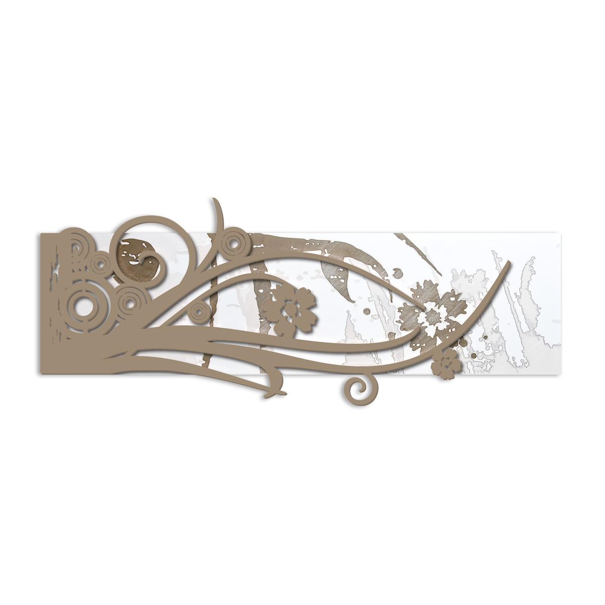L:A:S - Laser Art Style - QUADRO – SCULTURA DA PARETE SI-106 BIANCO-NOCCIOLA-INCISIONE LEGNO