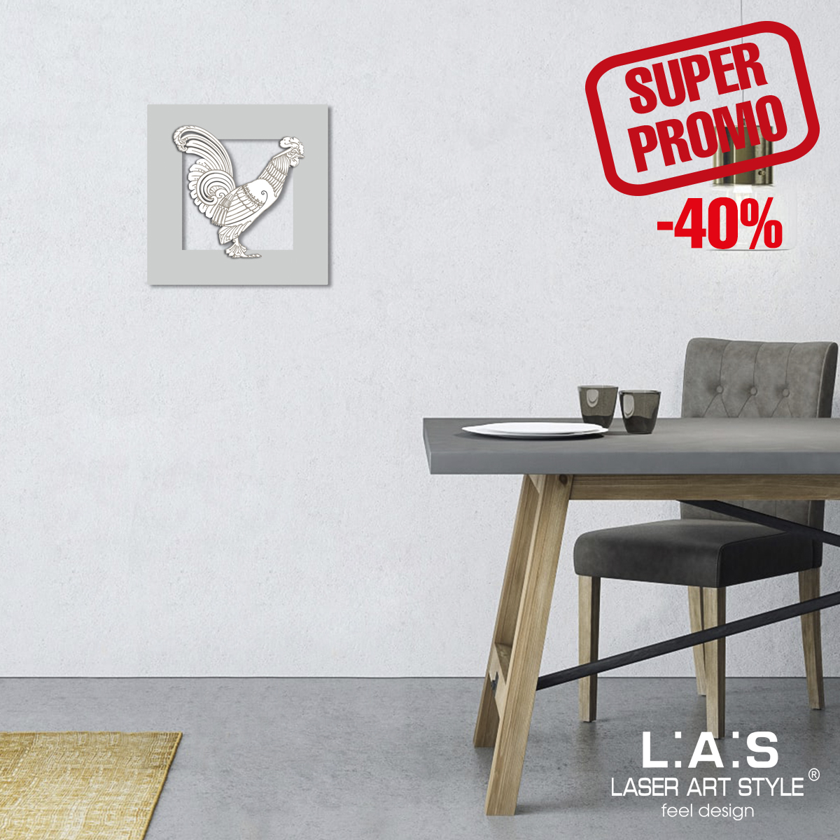 L:A:S - Laser Art Style - QUADRO DESIGN FIGURATIVO -SCULTURA DA PARETE SI-128BQ-S GRIGIO LUCE-BIANCO