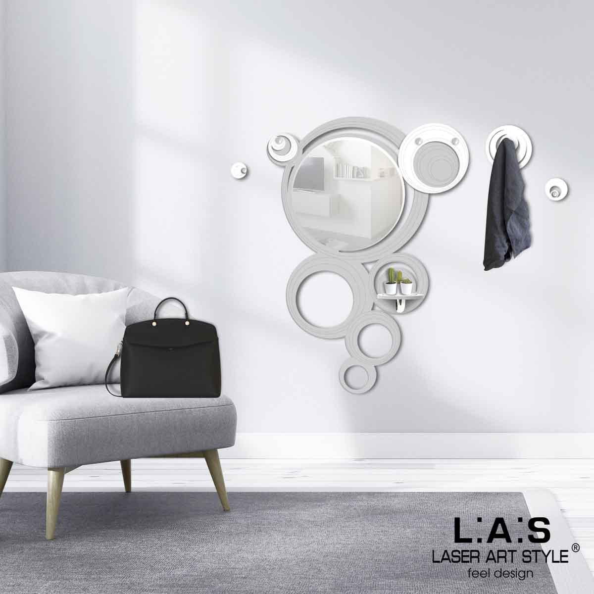L:A:S - Laser Art Style - SPECCHIERA-MENSOLA-APPENDIABITI-DESIGN CERCHI – SI-281 GRIGIO LUCE-BIANCO