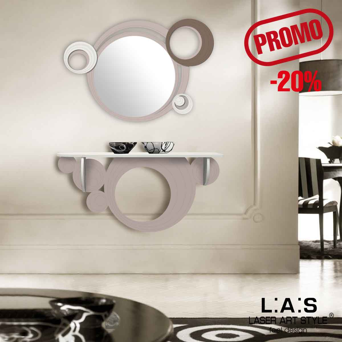 L:A:S - Laser Art Style - SPECCHIERA DESIGN MODERNO – SI-296 CIPRIA-PANNA-GRIGIO MARRONE
