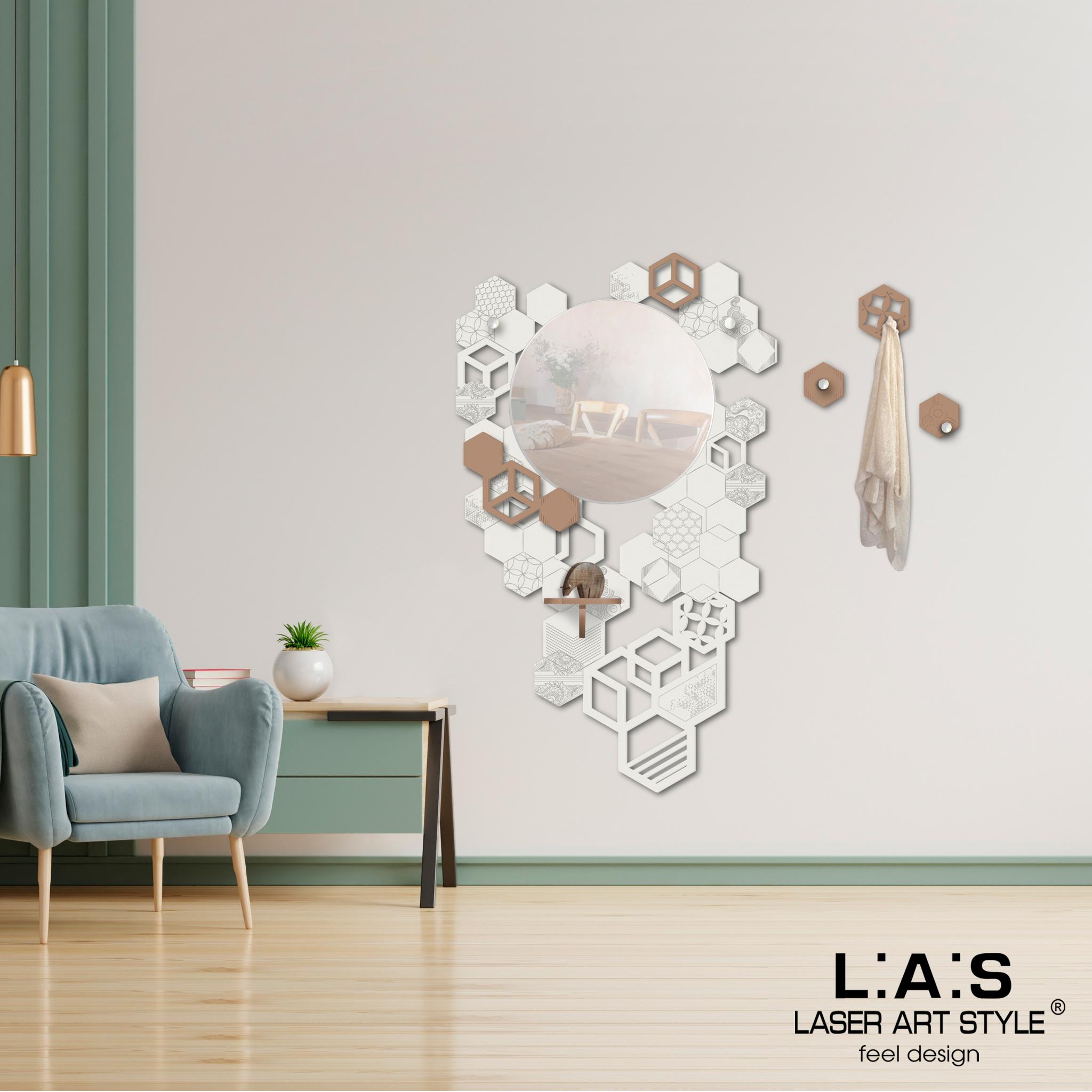 L:A:S - Laser Art Style - SPECCHIERA-MENSOLA-APPENDIABITI- ESAGONI- SI-315 PANNA-NOCCIOLA