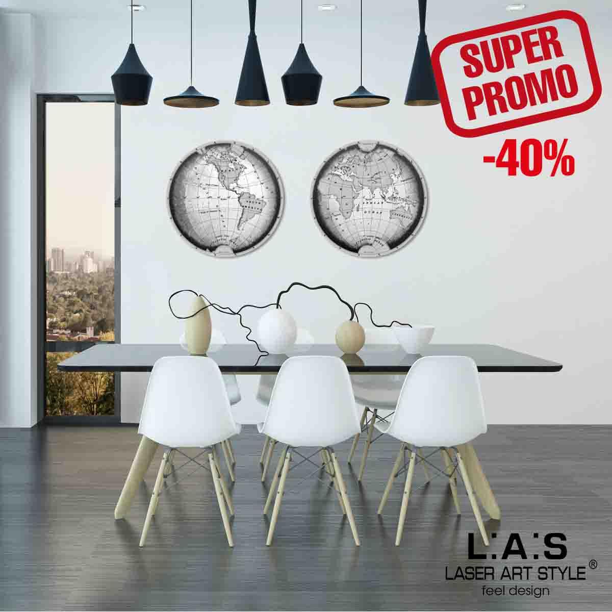 L:A:S - Laser Art Style - QUADRO DESIGN PLANISFERO SI-371 DECORO NERO