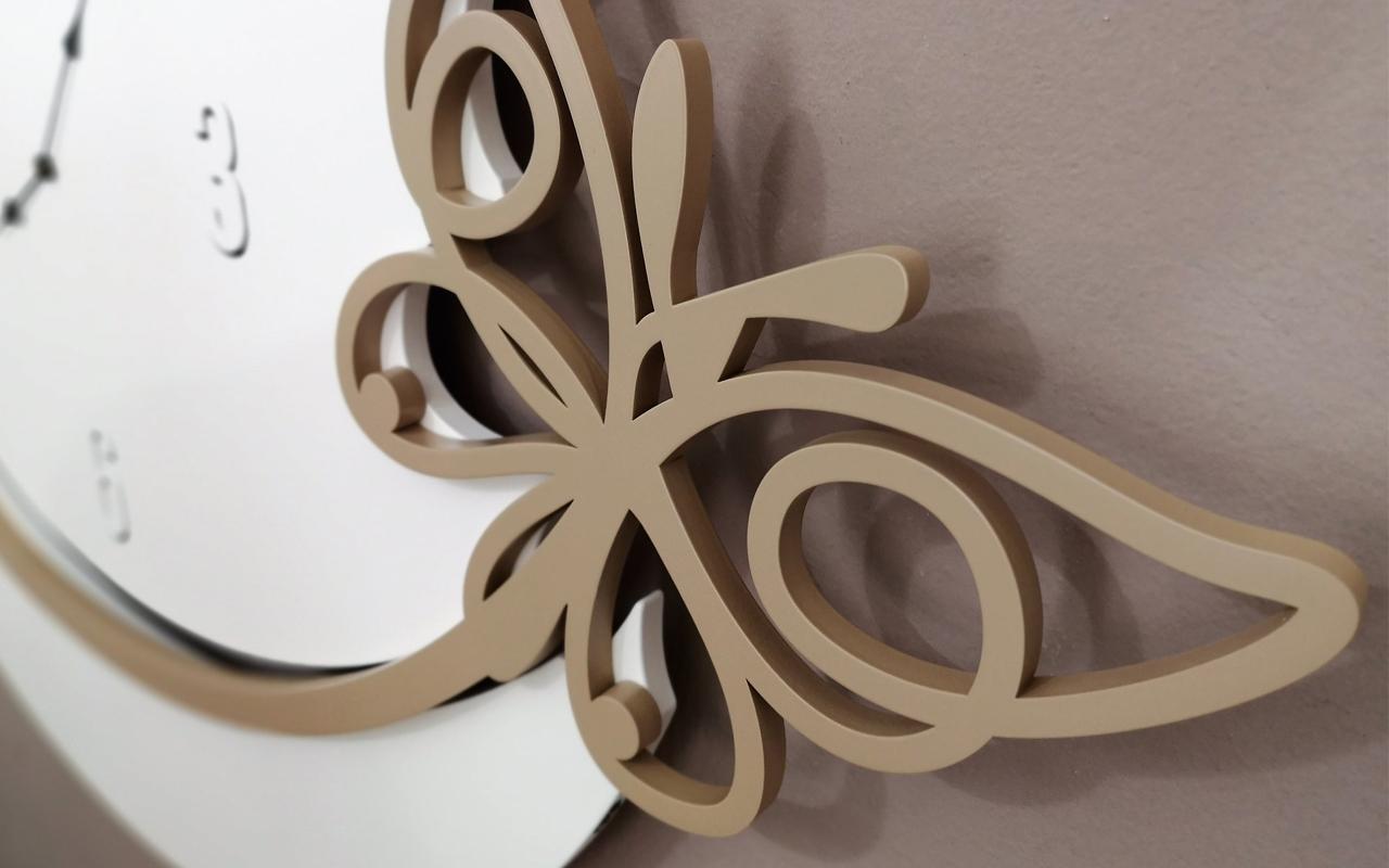 L:A:S - Laser Art Style - OROLOGIO DA PARETE DESIGN FARFALLA SI-503 BIANCO-NOCCIOLA