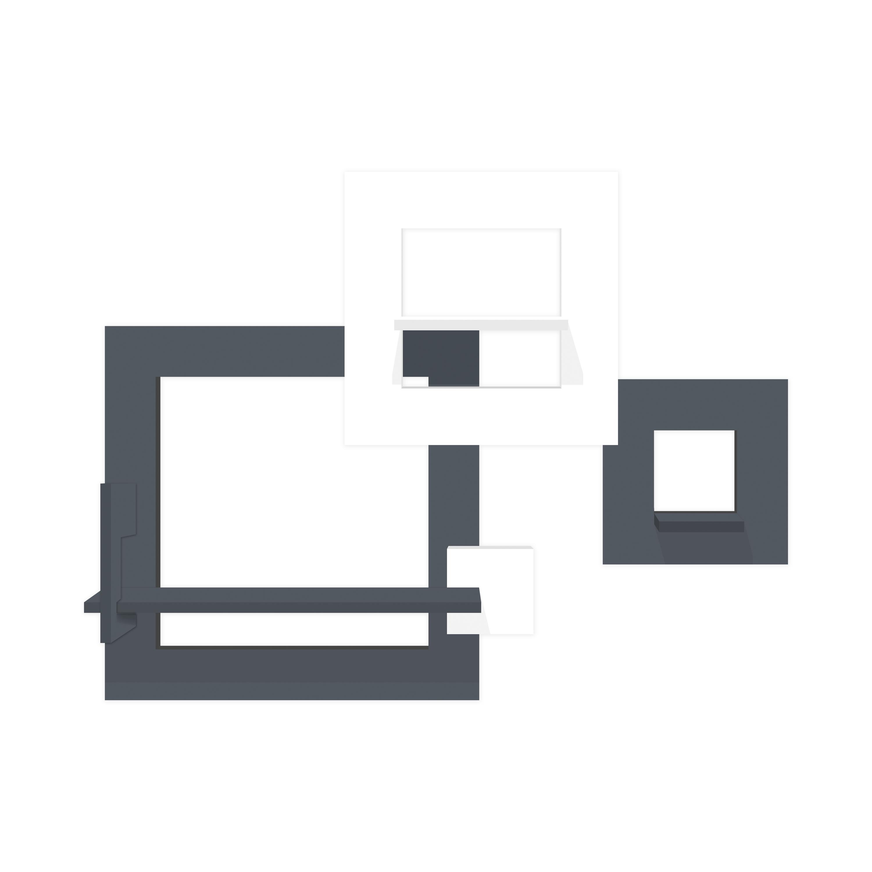 L:A:S - Laser Art Style - MENSOLE CON  CORNICE DA PARETE DESIGN MINIMAL – SI-518 ANTRACITE BIANCO