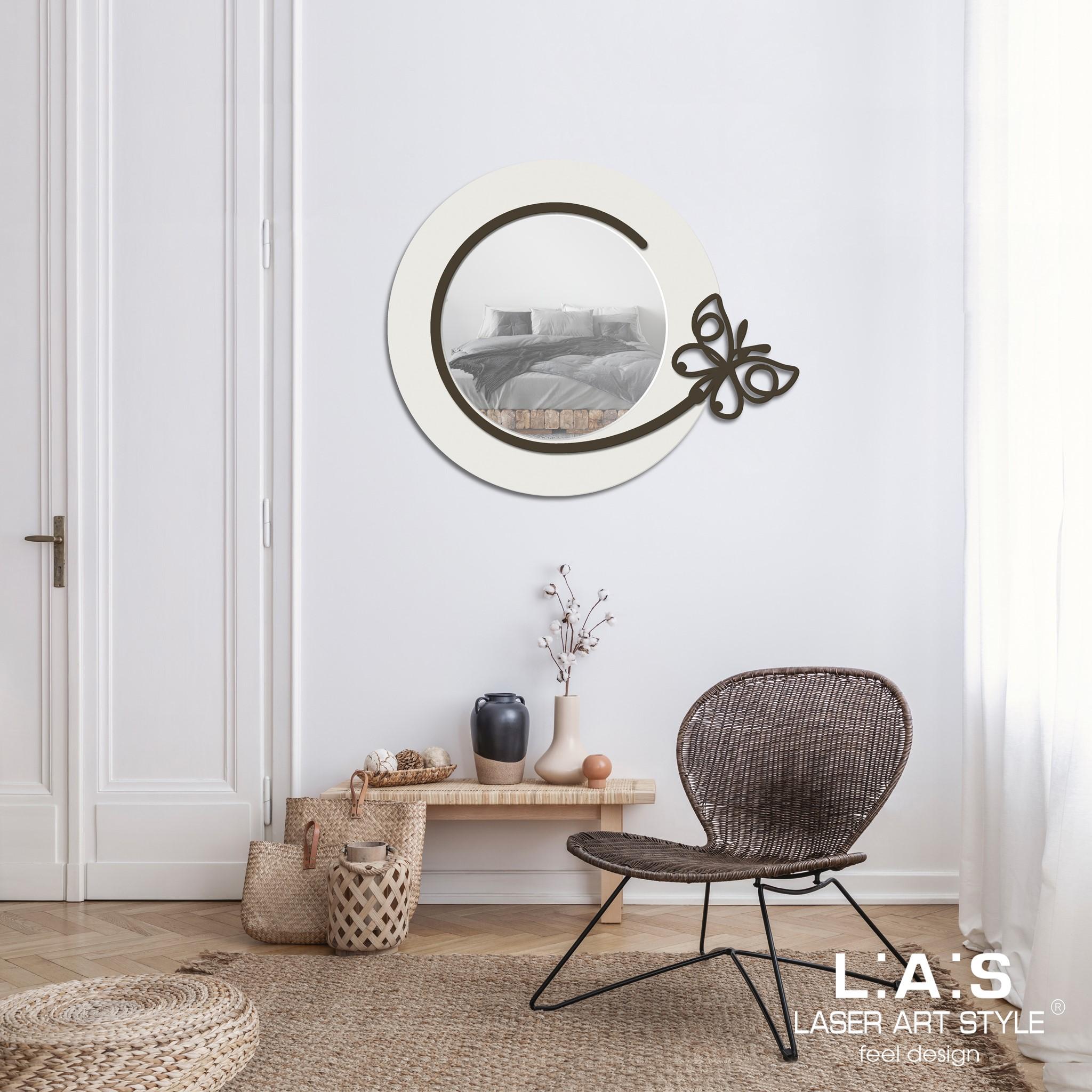 L:A:S - Laser Art Style - SPECCHIERA DESIGN FARFALLA SI-521 BIANCO-MARRONE